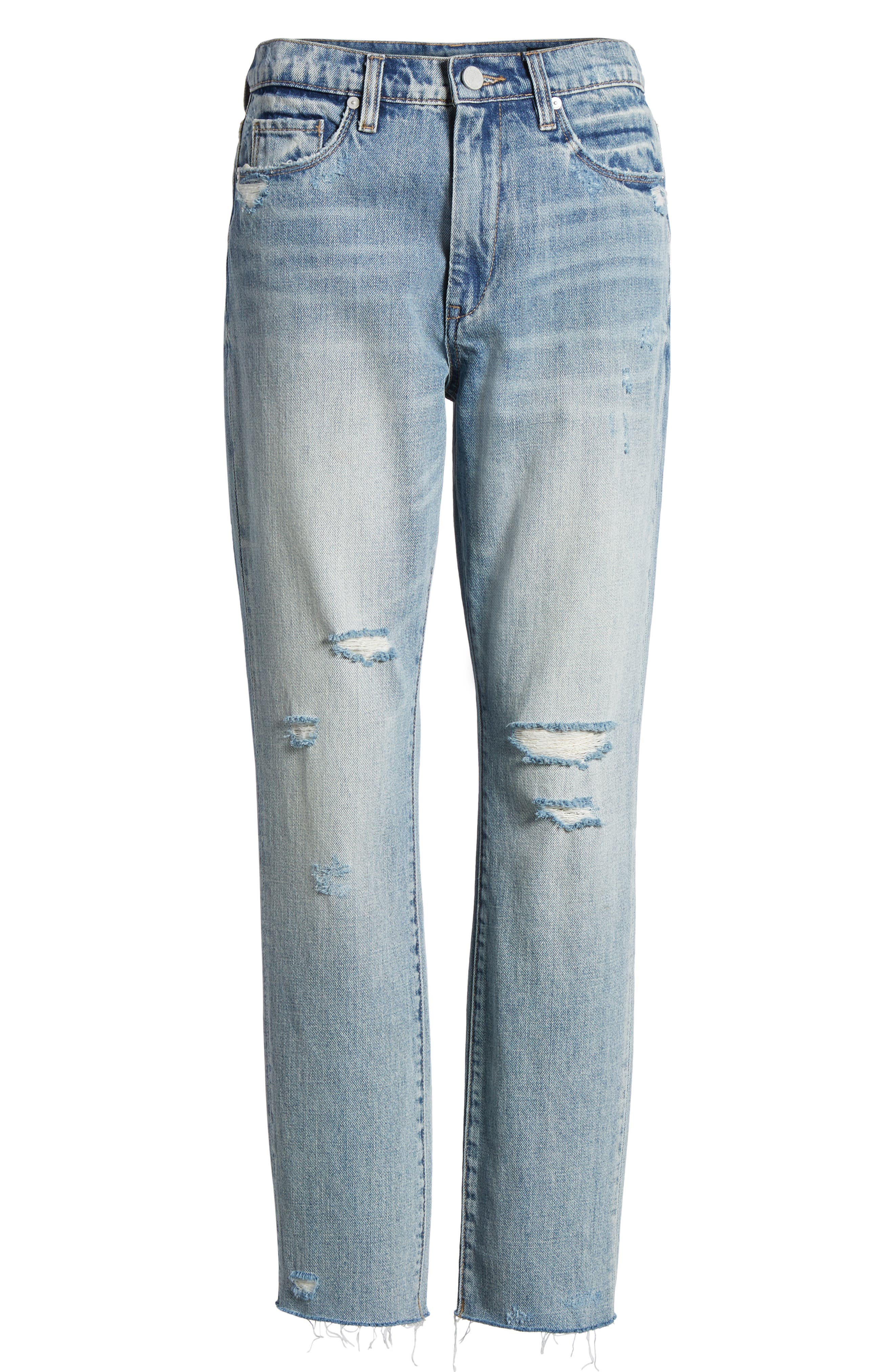 Distressed Rigid Straight Leg Jeans,                             Alternate thumbnail 7, color,                             400