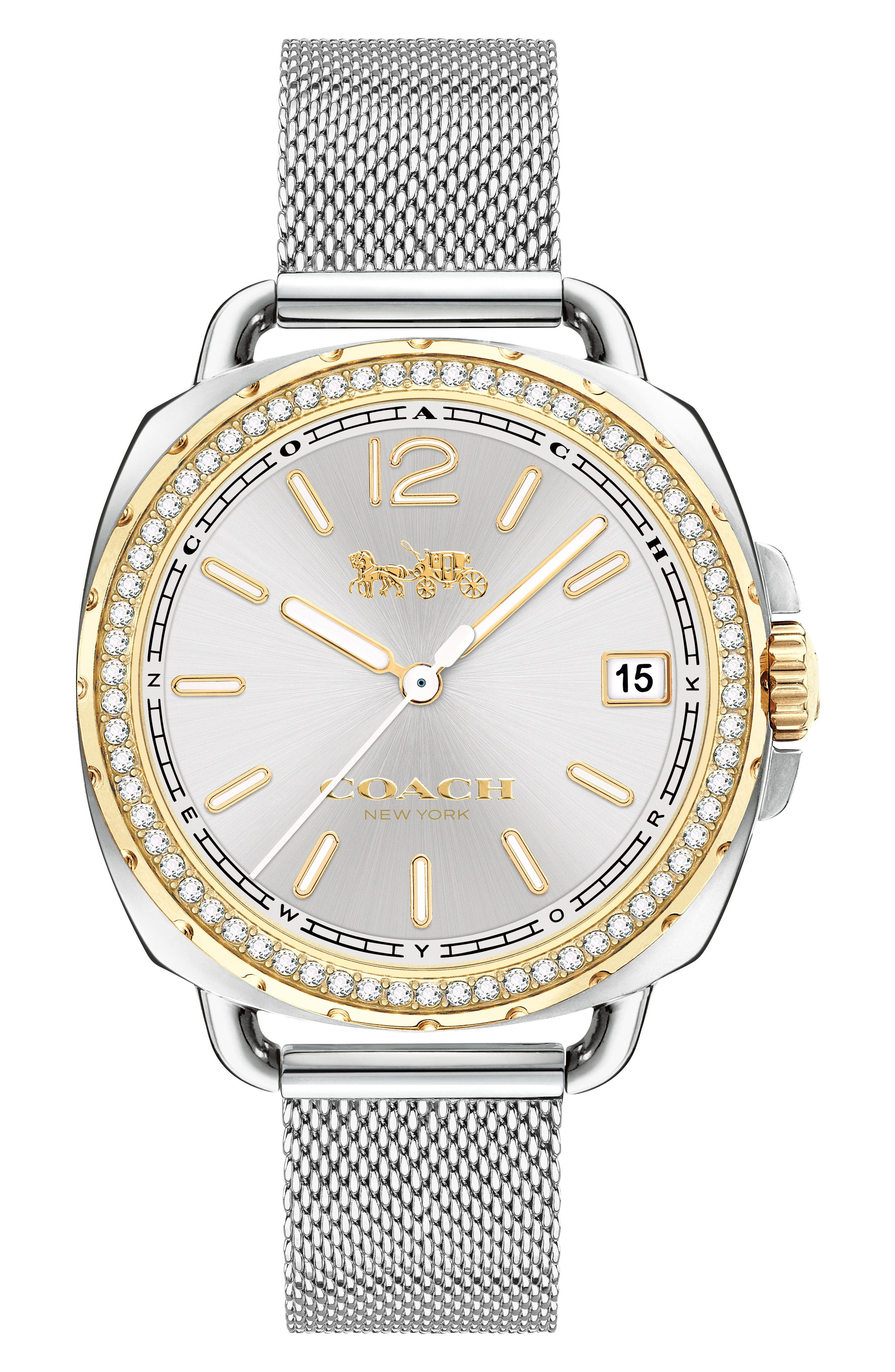 Tatum Crystal Mesh Strap Watch, 34mm,                         Main,                         color, 040