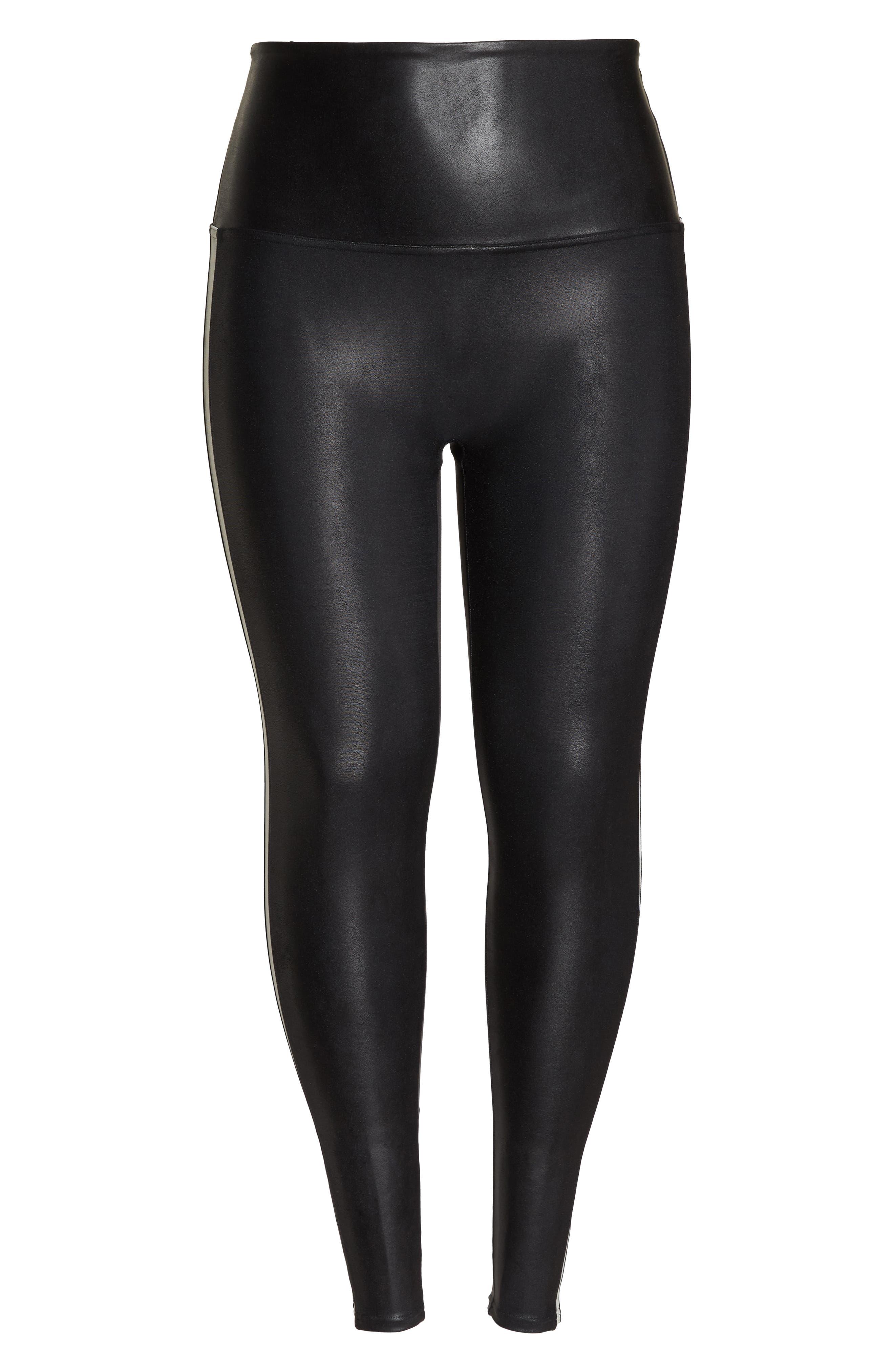 Side Stripe Faux Leather Leggings,                             Alternate thumbnail 7, color,                             VERY BLACK/WHT