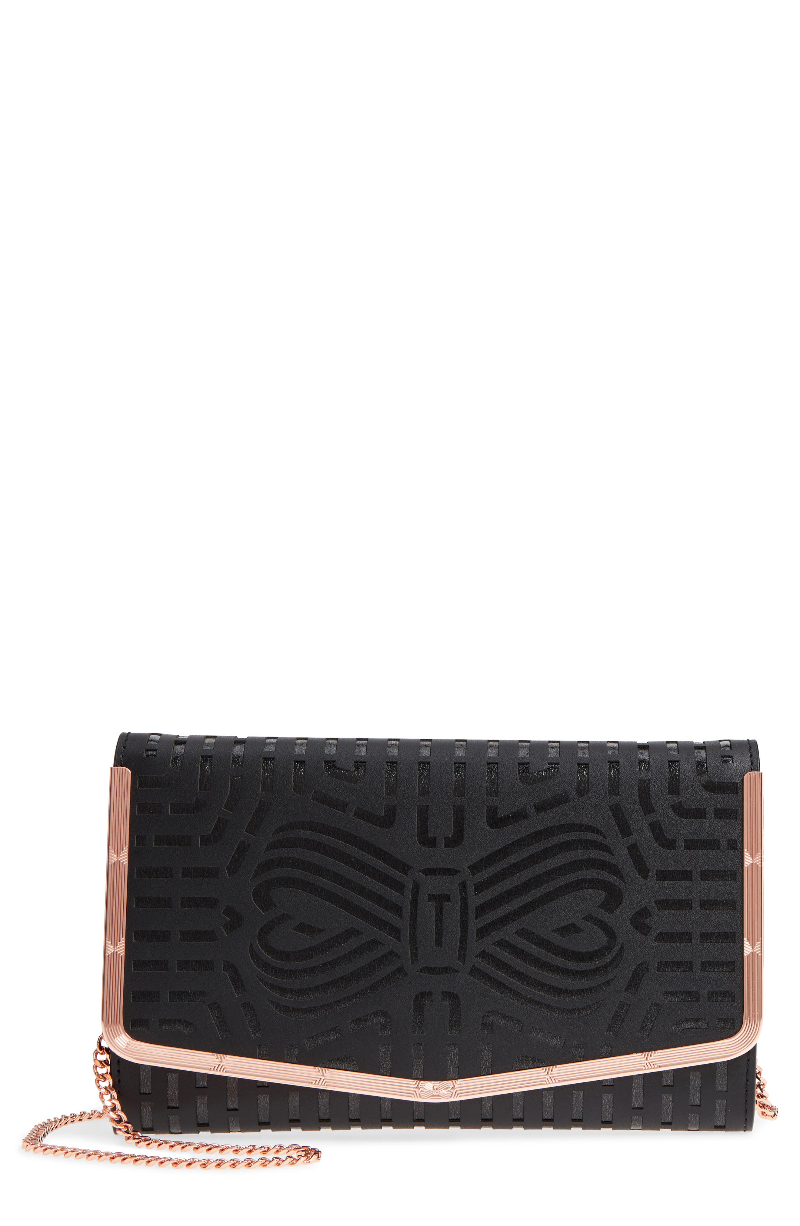 Bree Laser Cut Bow Leather Clutch,                         Main,                         color, 001