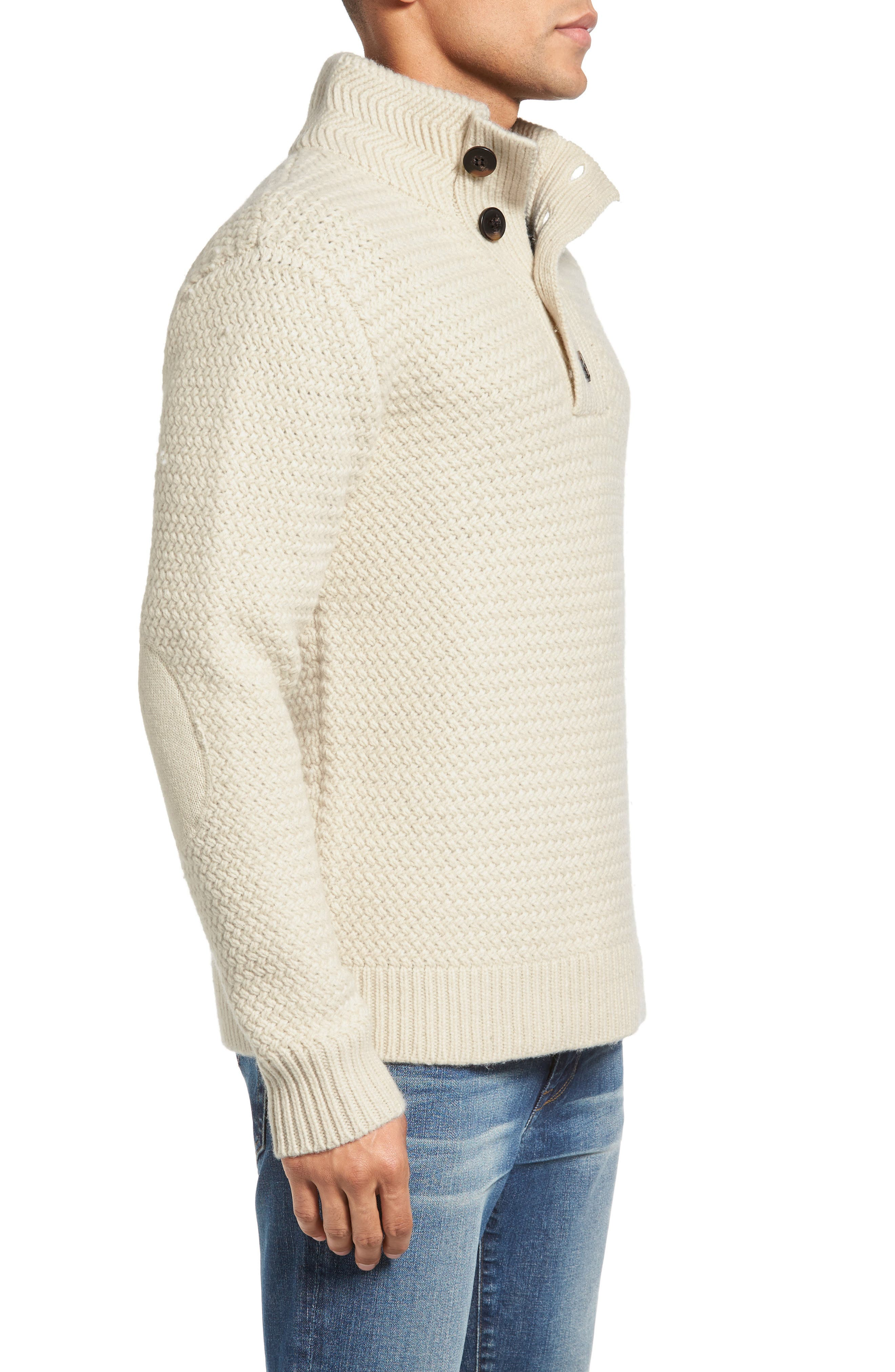 Military Henley Sweater,                             Alternate thumbnail 3, color,                             OFF WHITE
