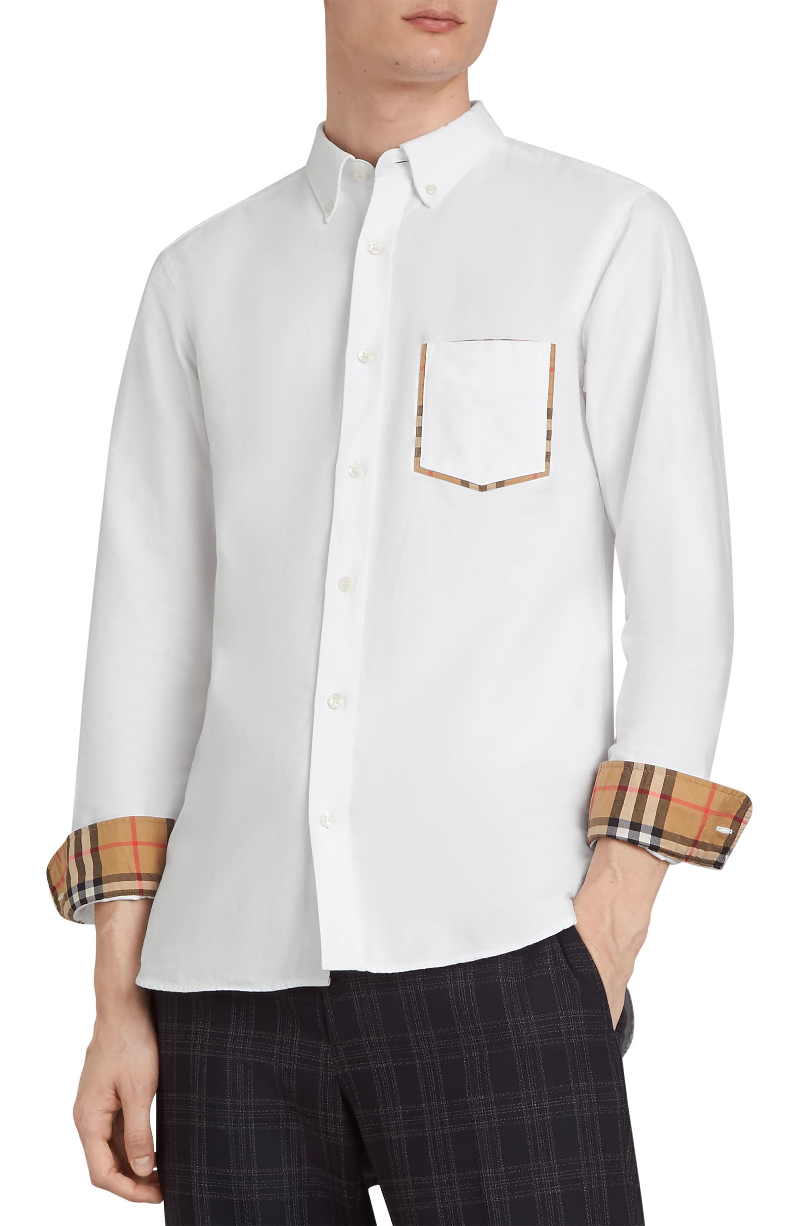 BURBERRY,                             Harry Check Trim Sport Shirt,                             Alternate thumbnail 2, color,                             WHITE