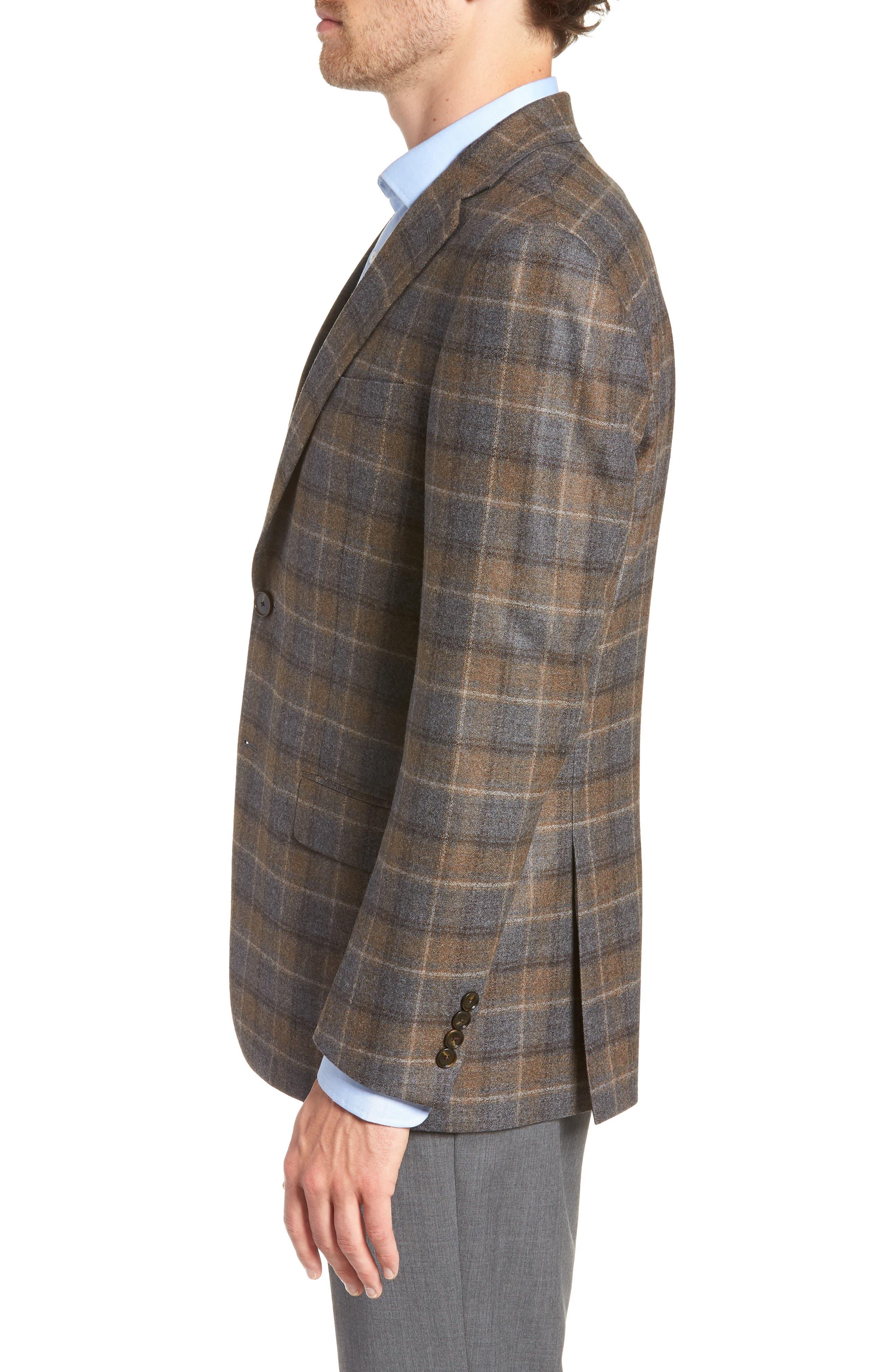 HART SCHAFFNER MARX,                             Classic Fit Plaid Wool Sport Coat,                             Alternate thumbnail 3, color,                             BROWN