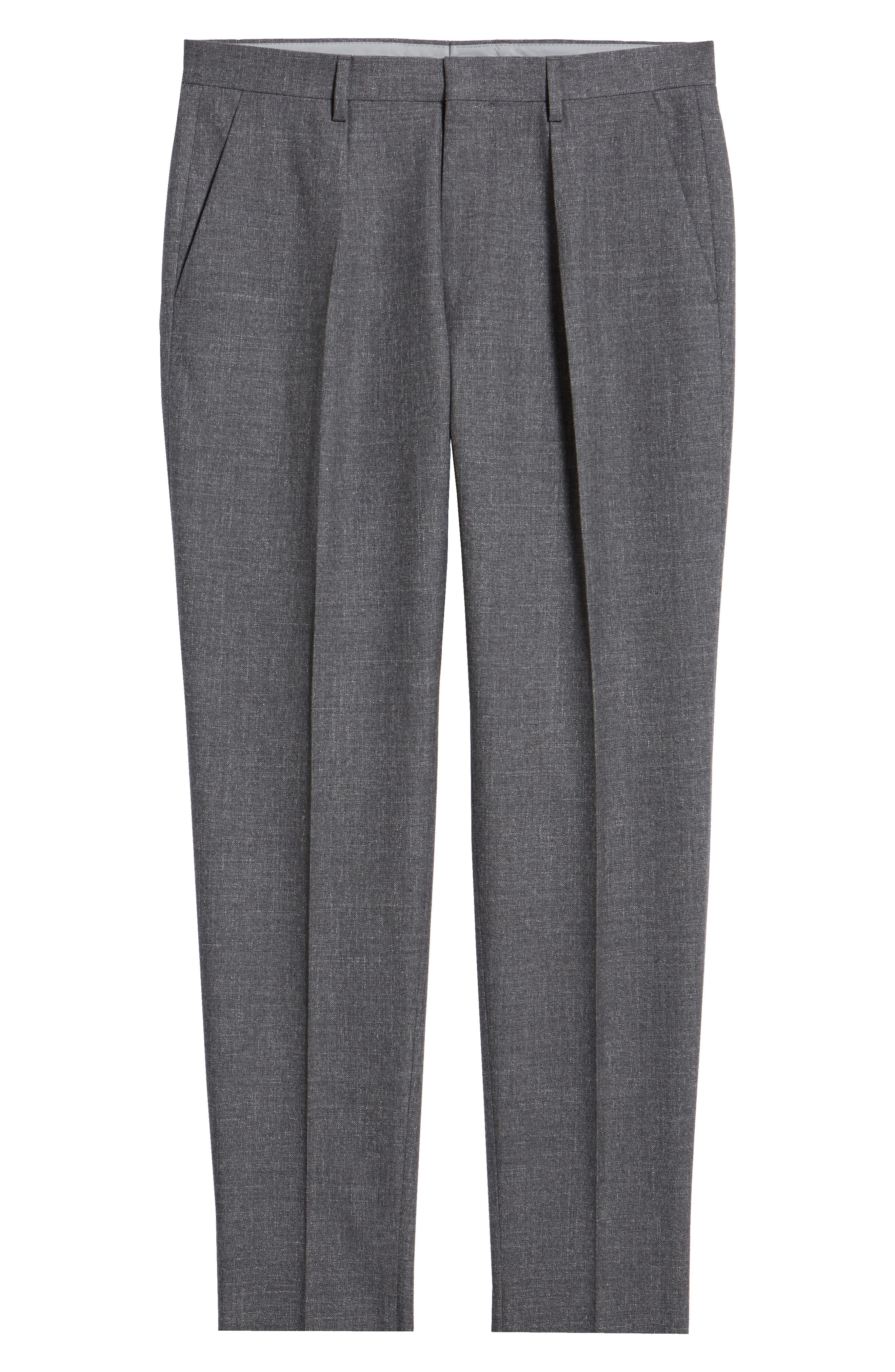 Ole Pleated Solid Wool & Cotton Trousers,                             Alternate thumbnail 6, color,                             MEDIUM GREY