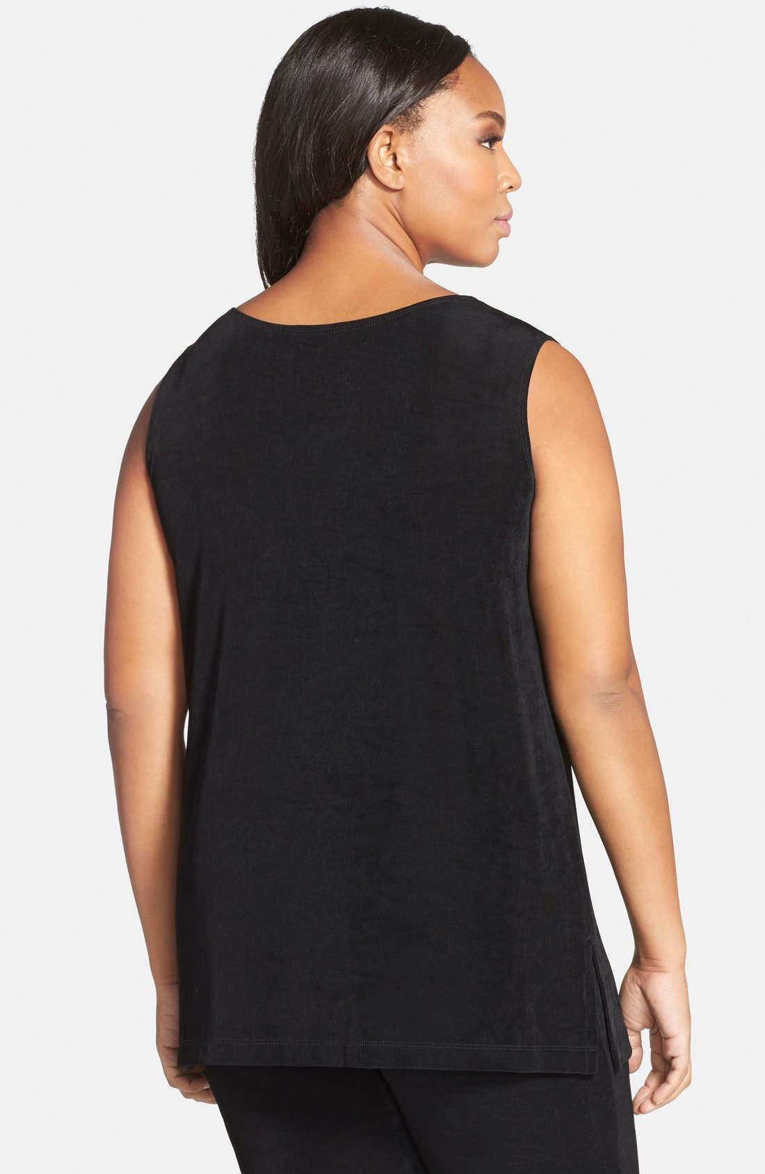 Sleeveless Stretch Knit Tunic,                             Alternate thumbnail 7, color,                             BLACK