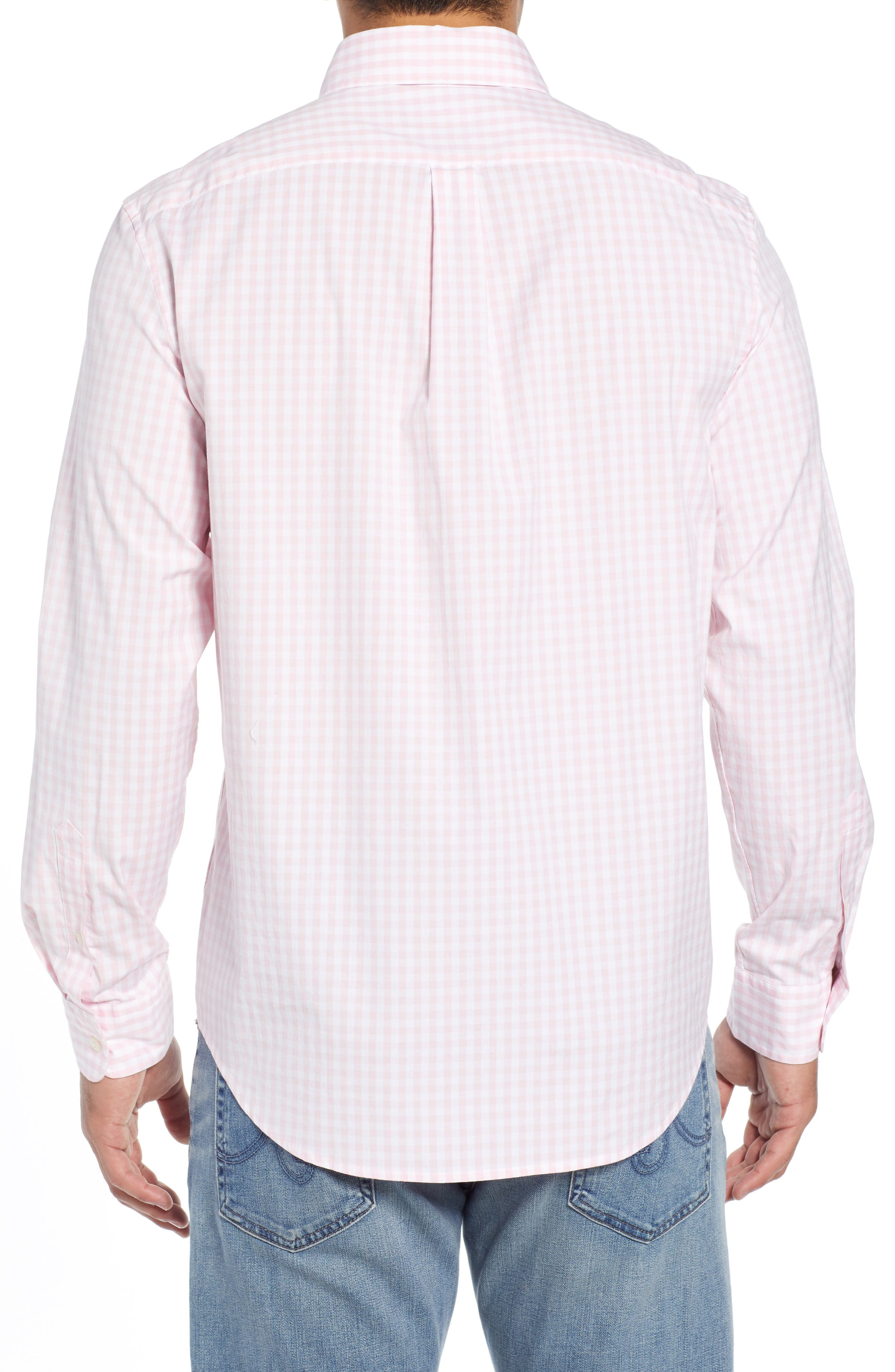 Carleton Classic Fit Gingham Buttondown Shirt,                             Alternate thumbnail 3, color,                             FLAMINGO