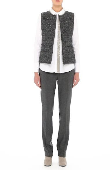 Pebbled Knit Front Quilted Down Vest, video thumbnail
