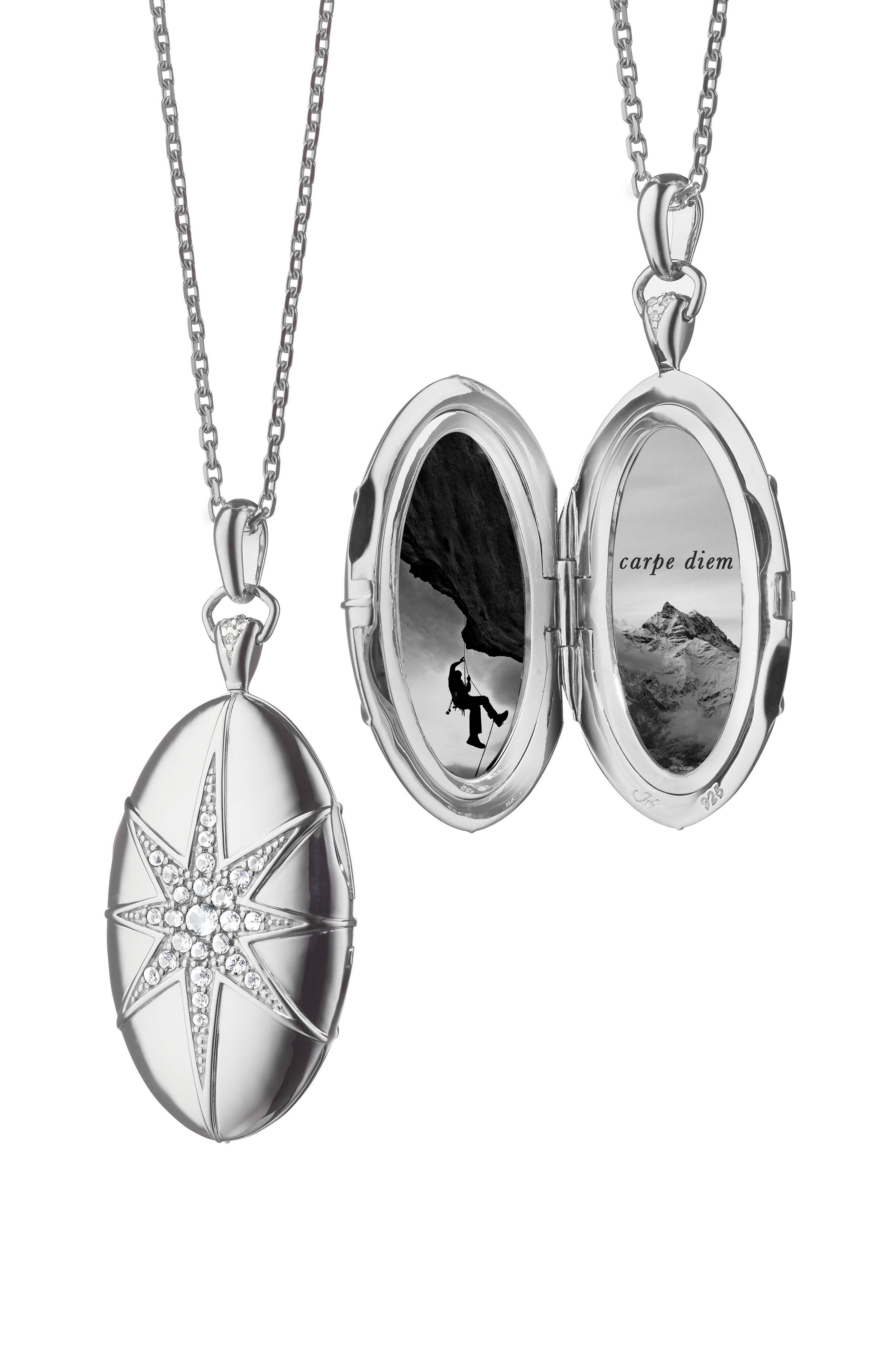 White Sapphire Star Locket Necklace,                             Main thumbnail 1, color,                             STERLING SILVER