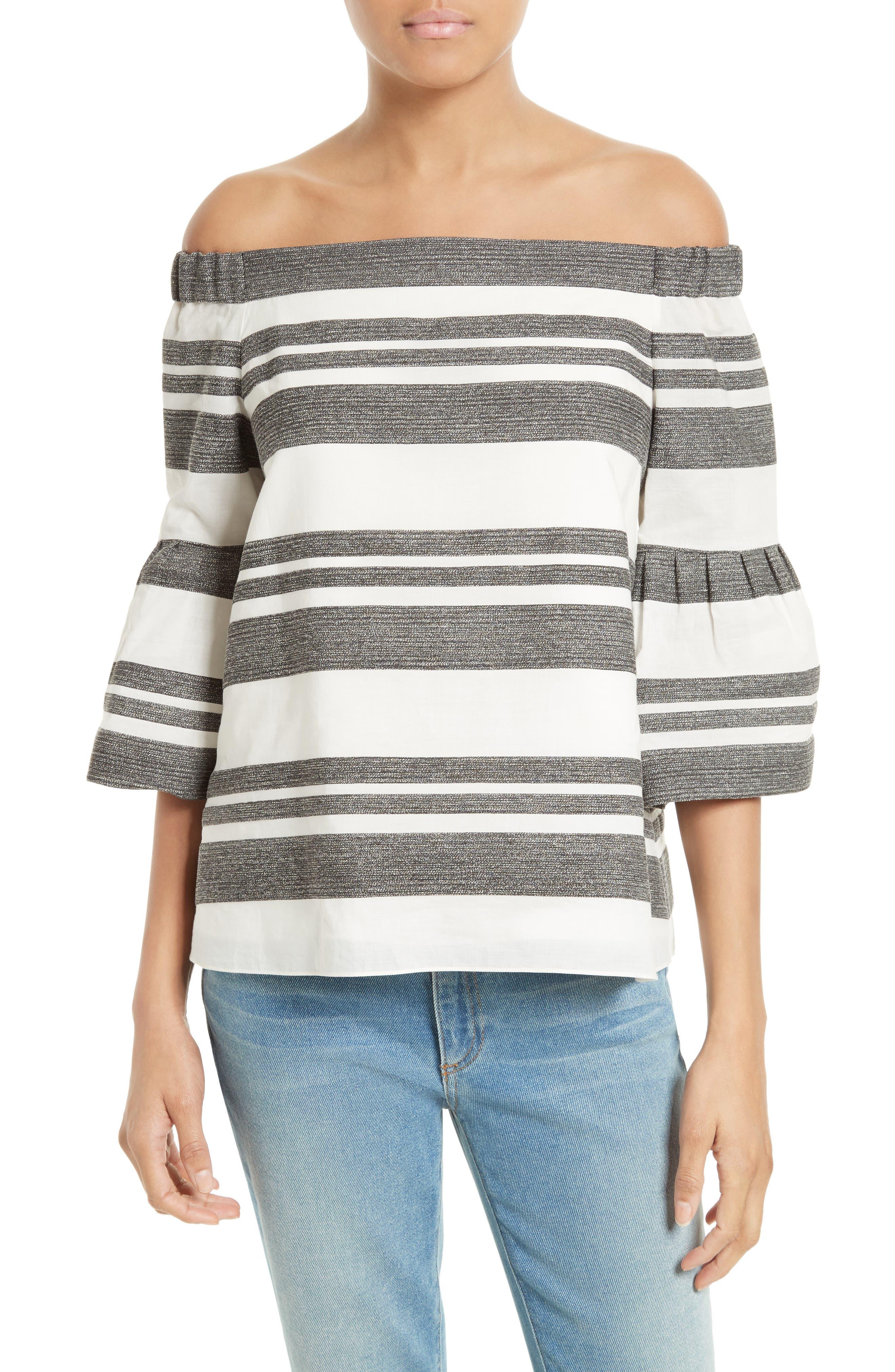 Organza Stripe Off the Shoulder Top,                         Main,                         color, 900