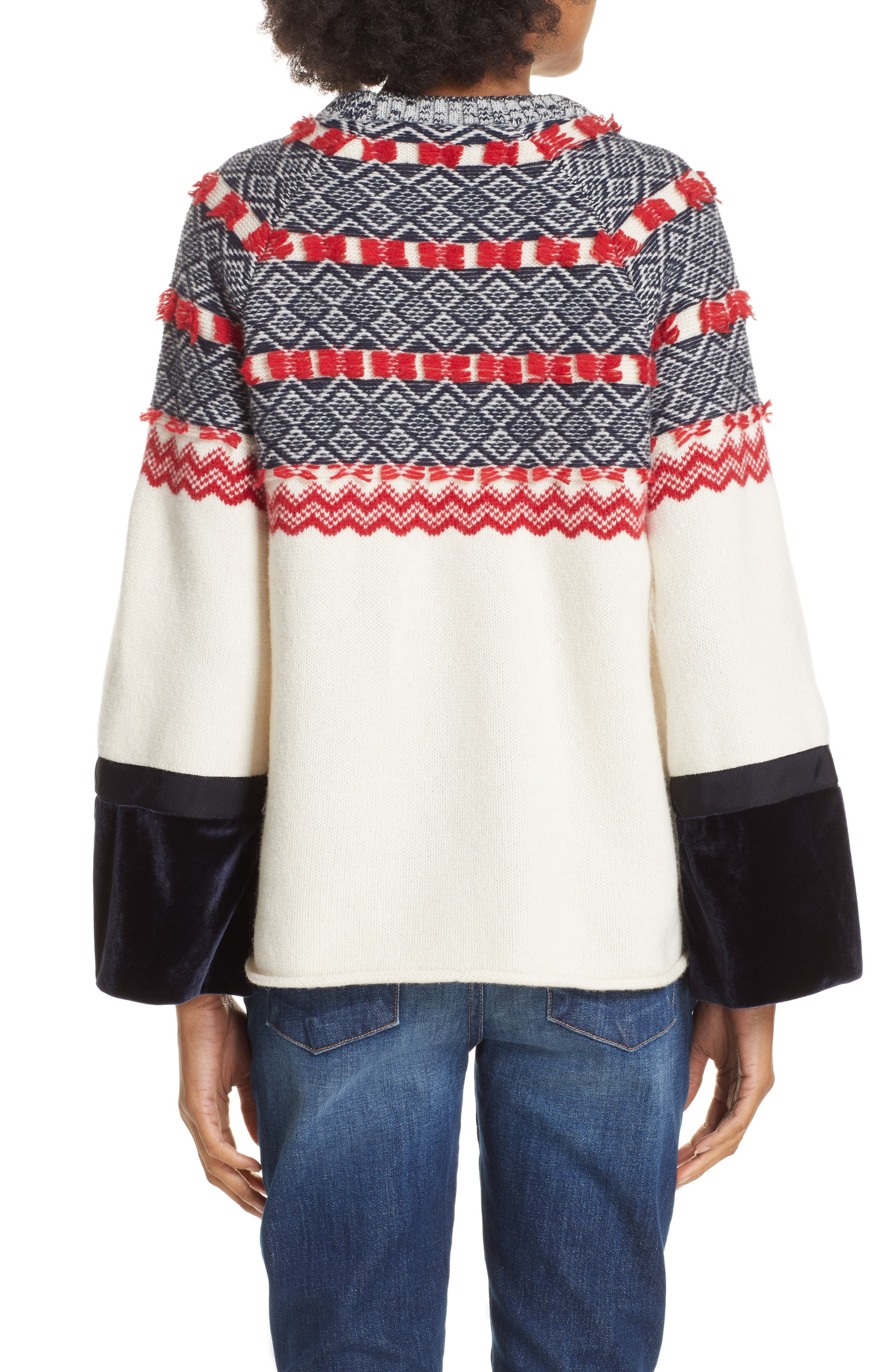 Fair Isle Mix Media Wool Blend Sweater,                             Alternate thumbnail 2, color,                             NAVY/ RED