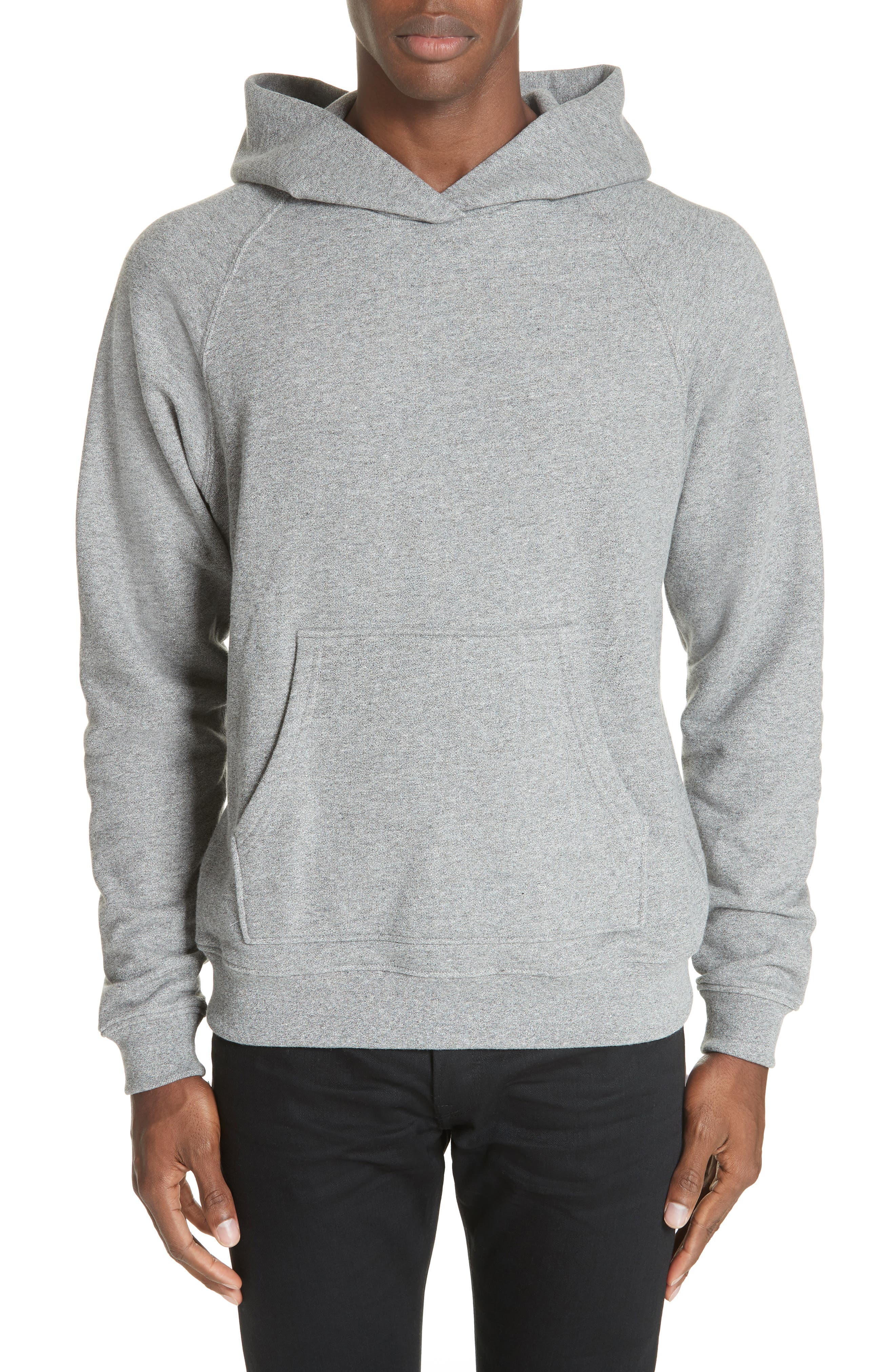 Raglan Hooded Sweatshirt,                             Main thumbnail 1, color,                             DARK GREY