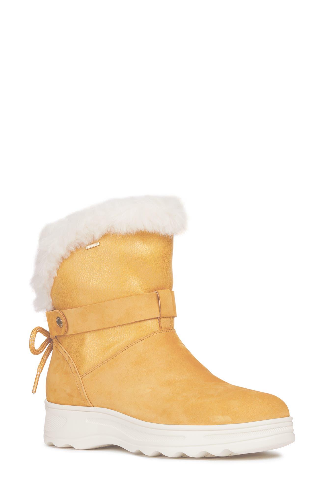 Geox Hosmos Abx Waterproof Faux Fur Trim Boot, Yellow