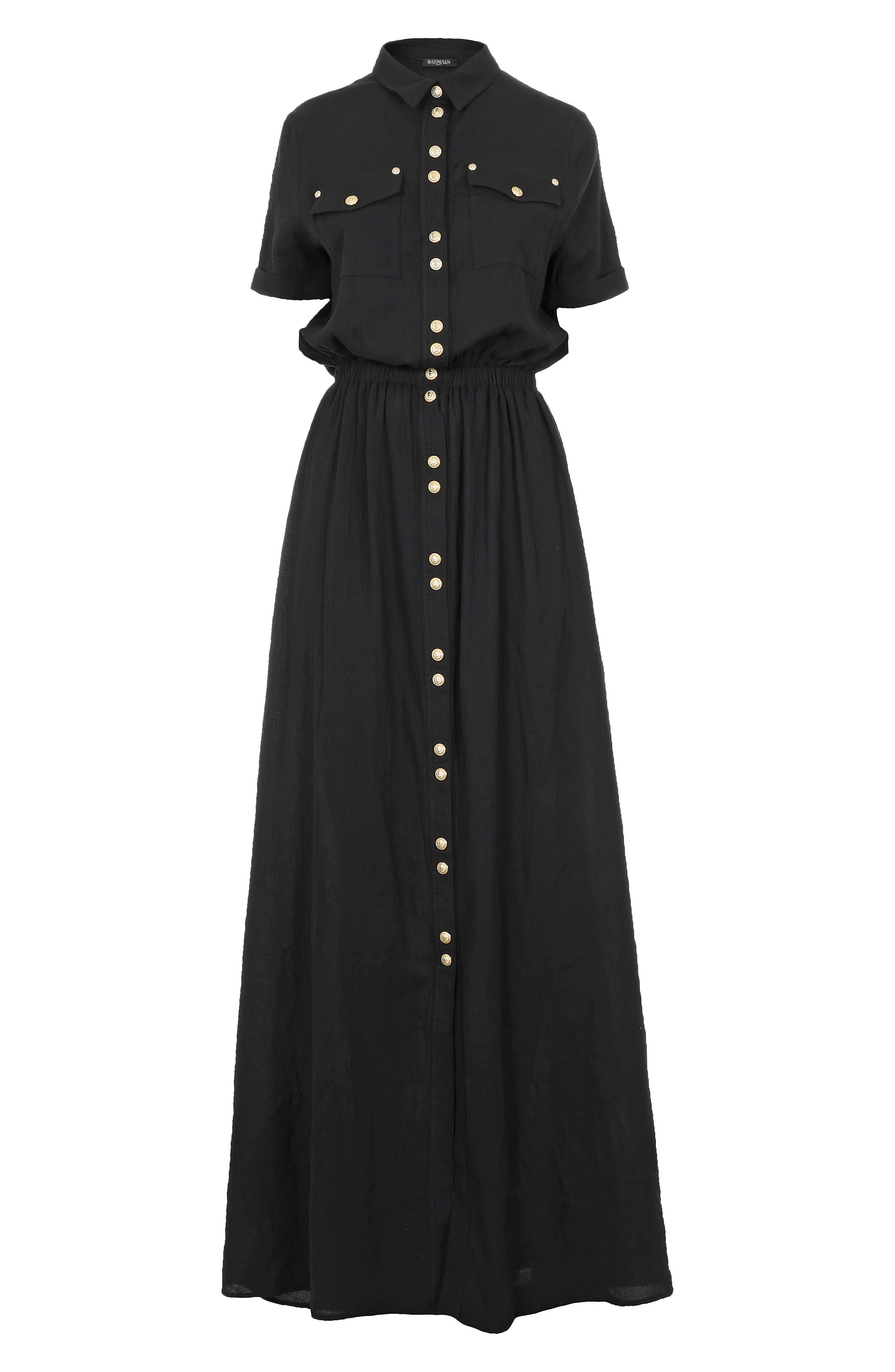 Button Front Cotton Maxi Dress,                             Alternate thumbnail 7, color,                             001