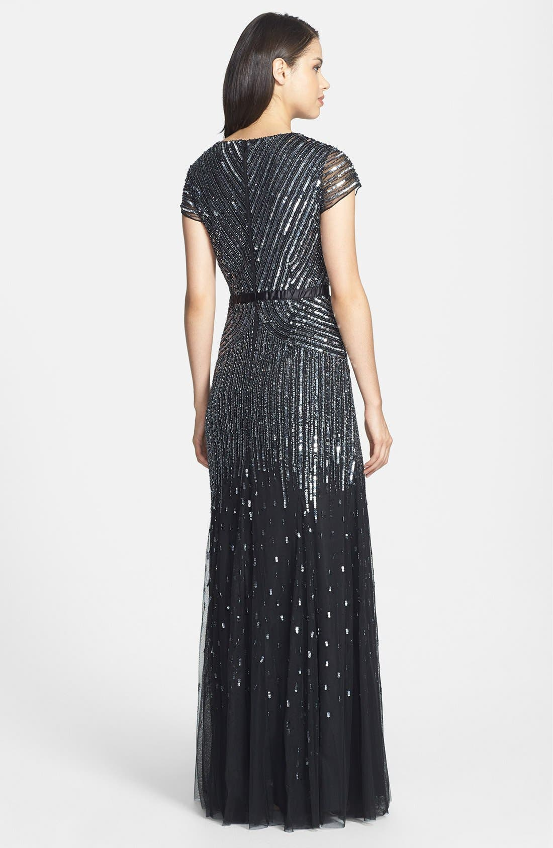 ADRIANNA PAPELL,                             Embellished Mesh Gown,                             Alternate thumbnail 2, color,                             001