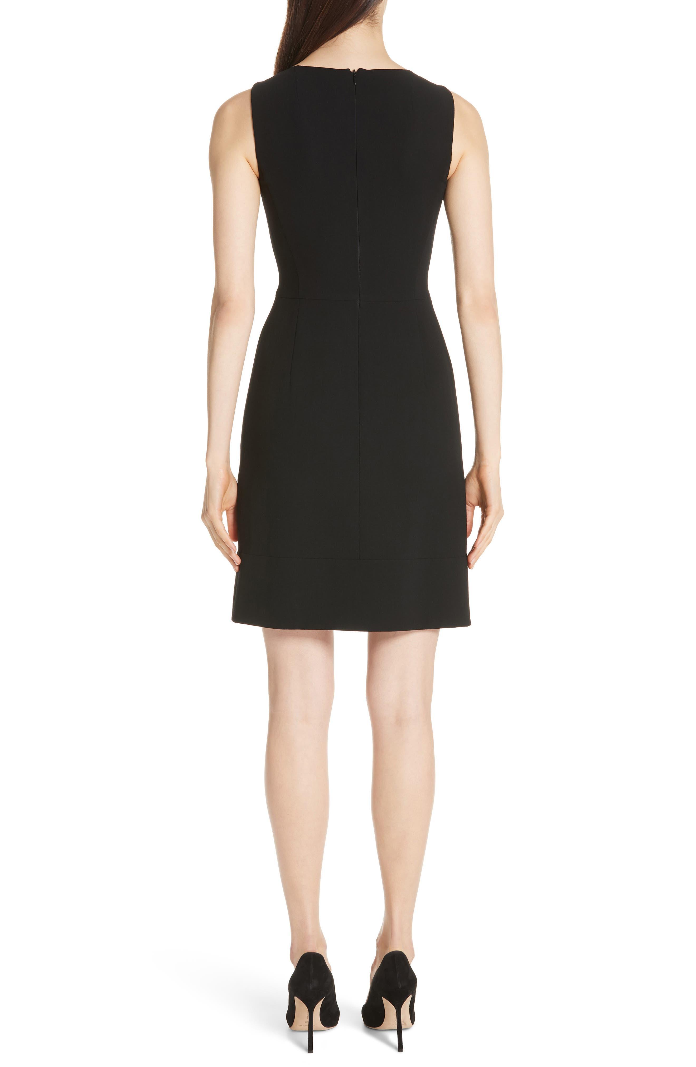 Double Face Wool Blend Dress,                             Alternate thumbnail 2, color,                             BLACK