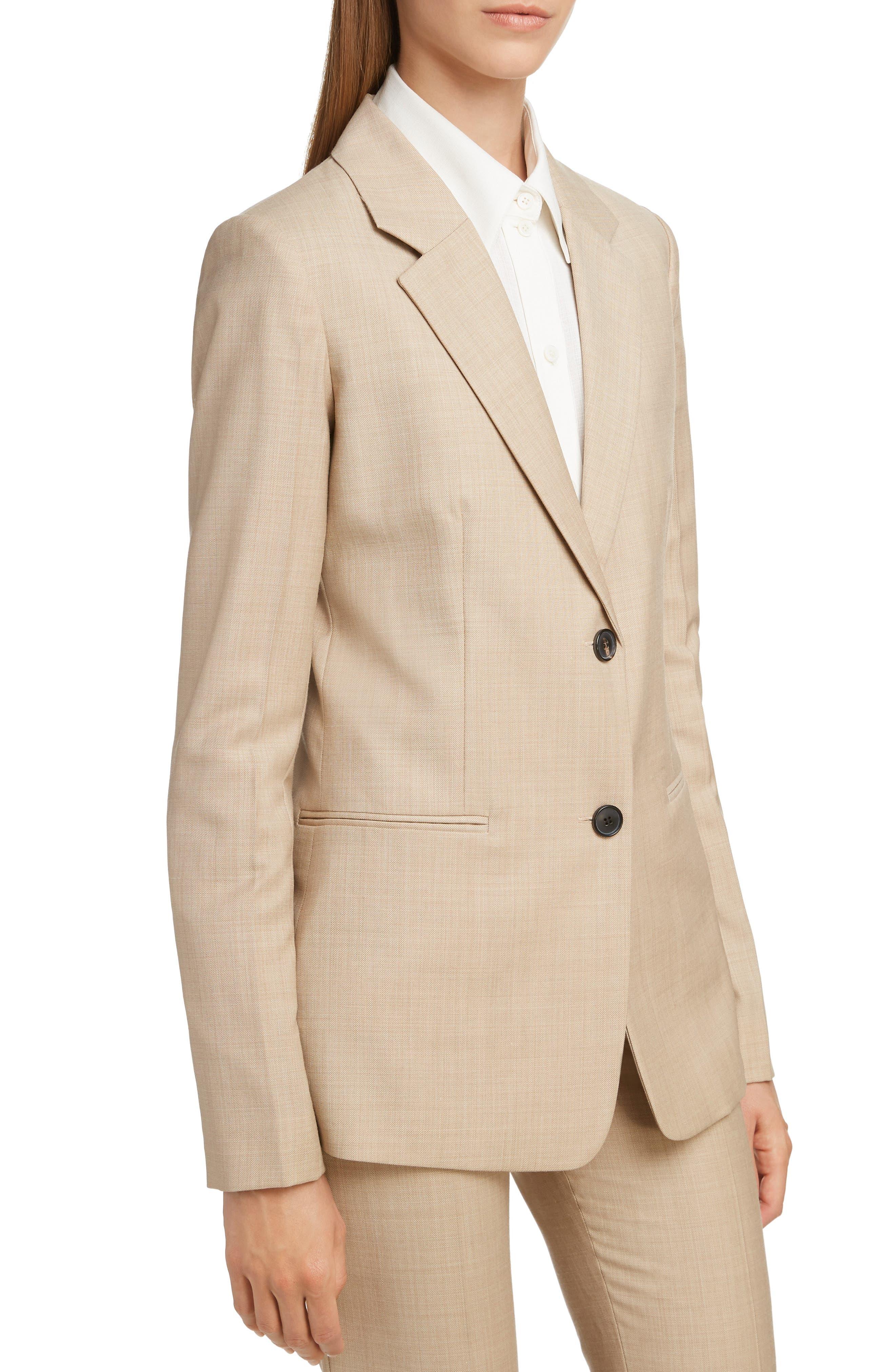 Wool Jacket,                             Alternate thumbnail 4, color,                             LIGHT BEIGE-WHITE