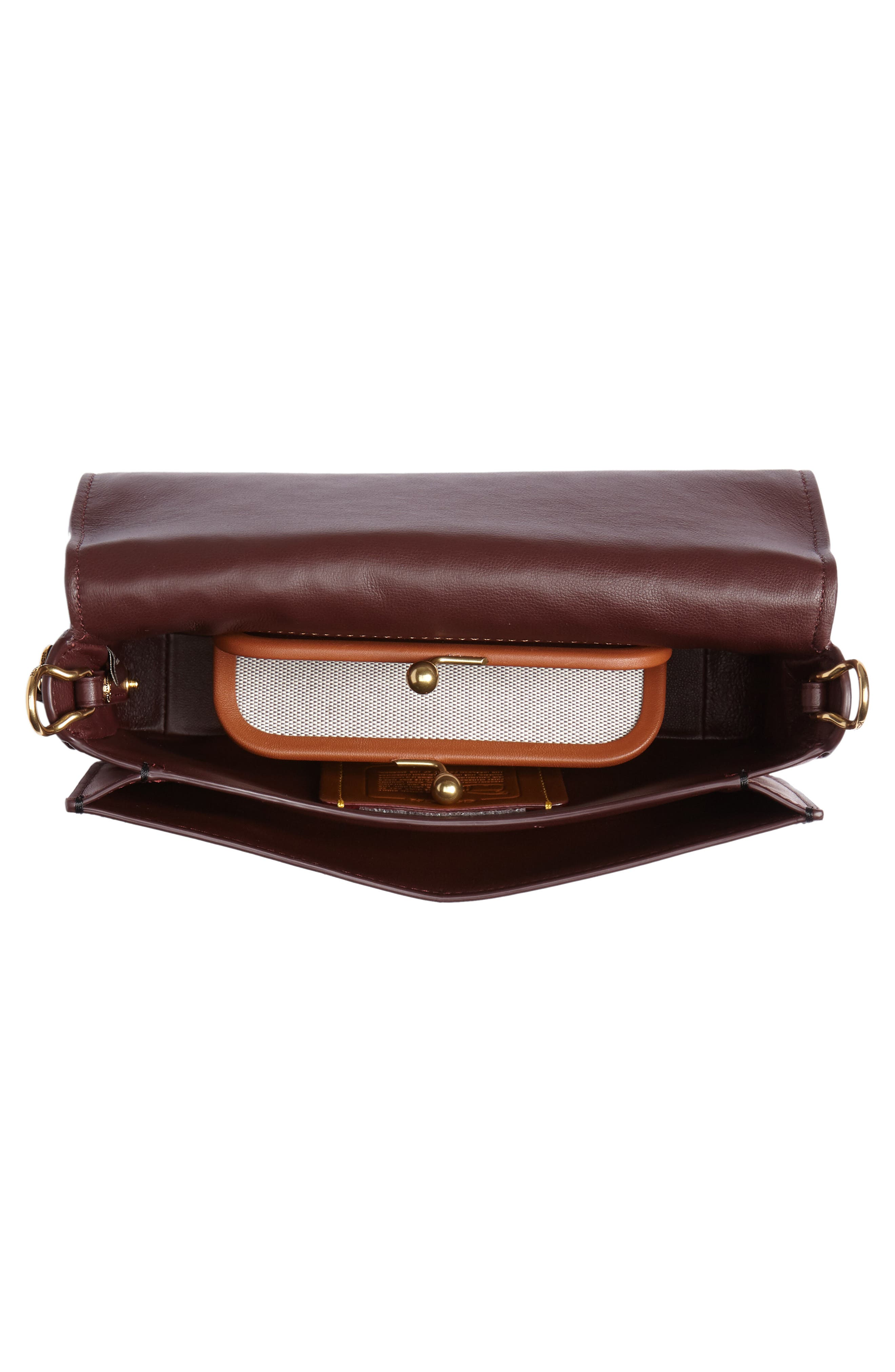Logo Embossed Dinky Leather Crossbody Clutch,                             Alternate thumbnail 4, color,                             005