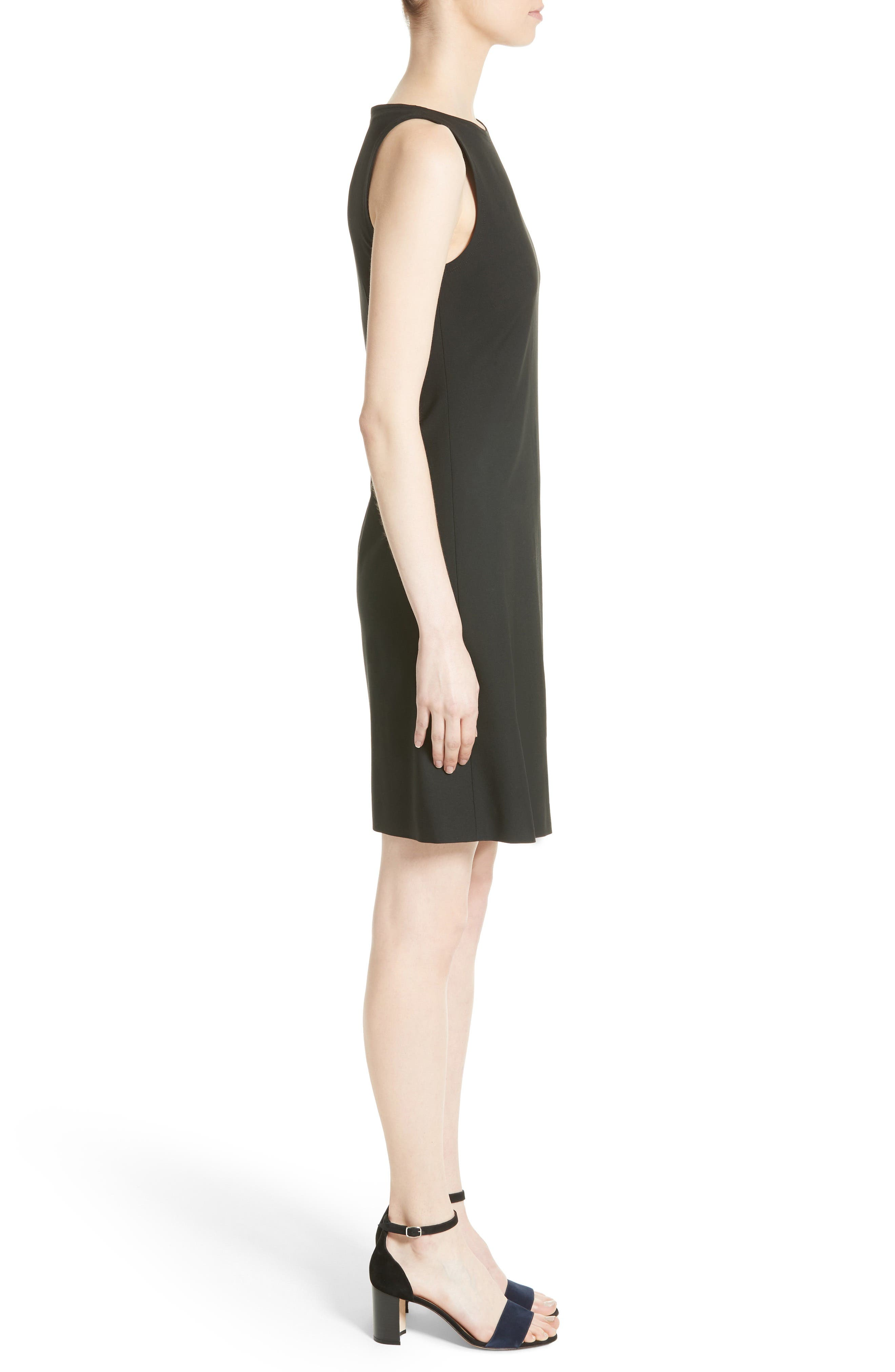 Risbana New Stretch Wool Dress,                             Alternate thumbnail 3, color,                             001