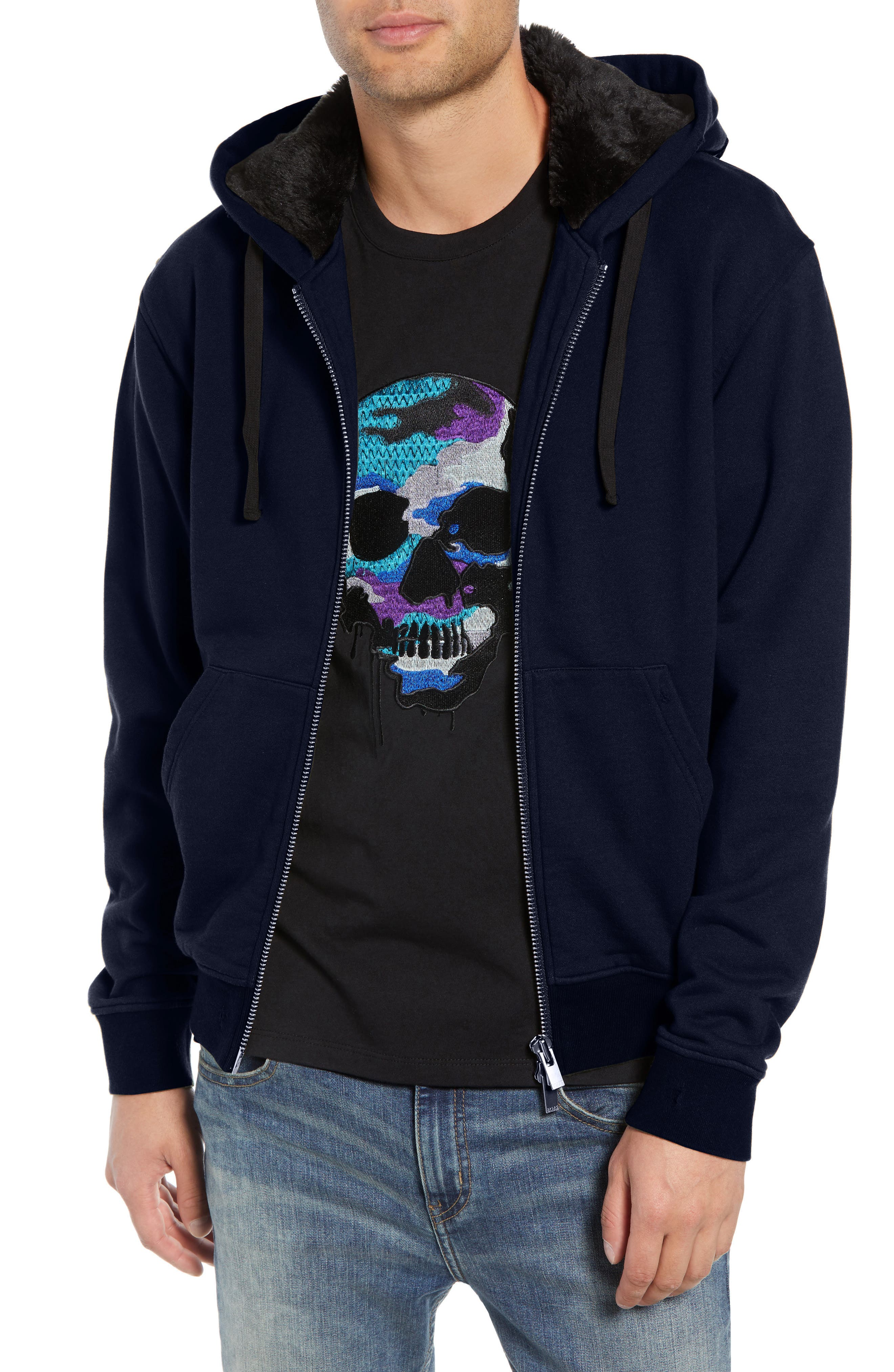 Destroyed Regular Fit Zip Hoodie with Faux Fur Trim,                             Main thumbnail 1, color,                             NAVY