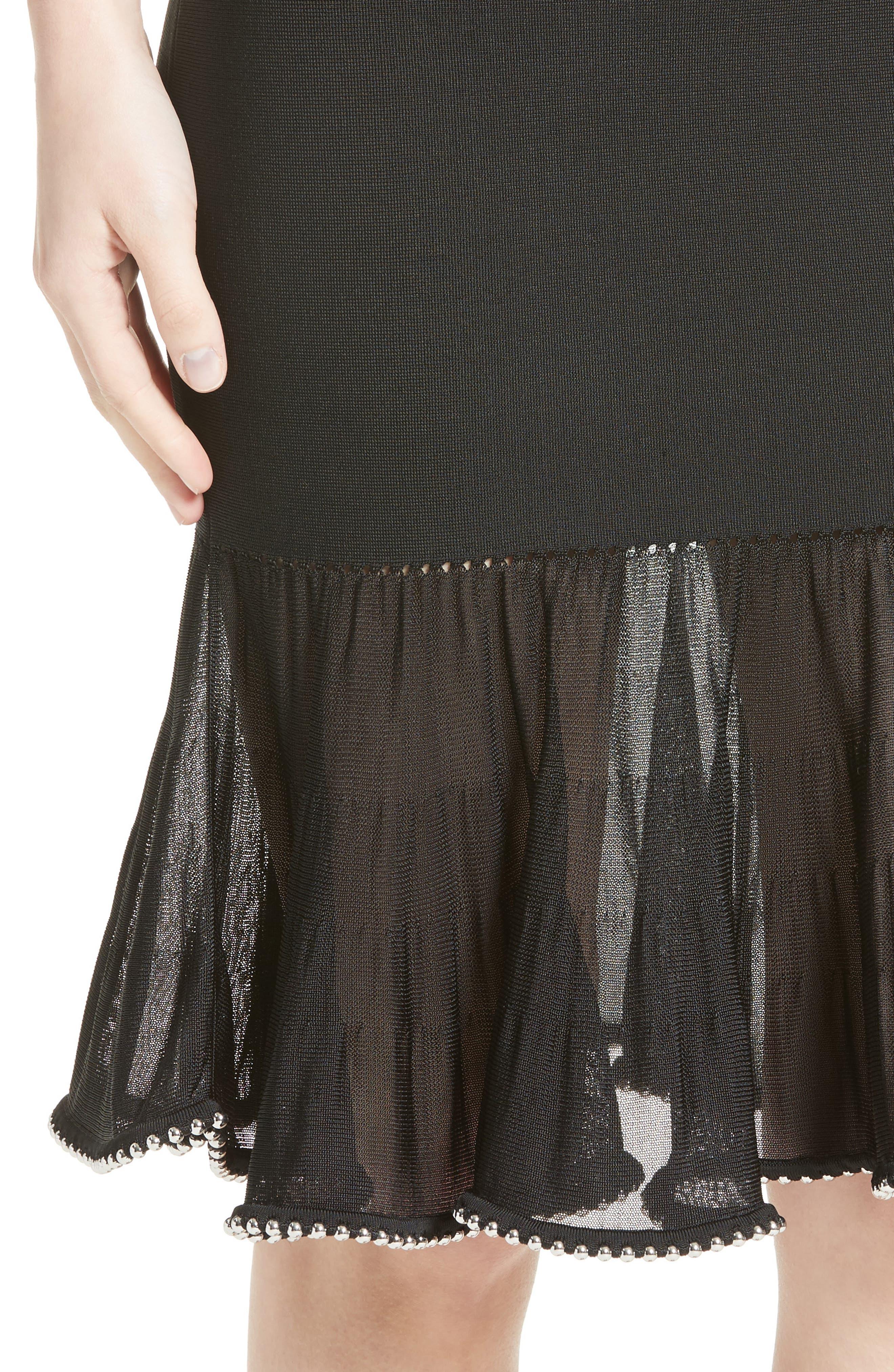 Chain Trim Ruffle Knit Skirt,                             Alternate thumbnail 4, color,                             001