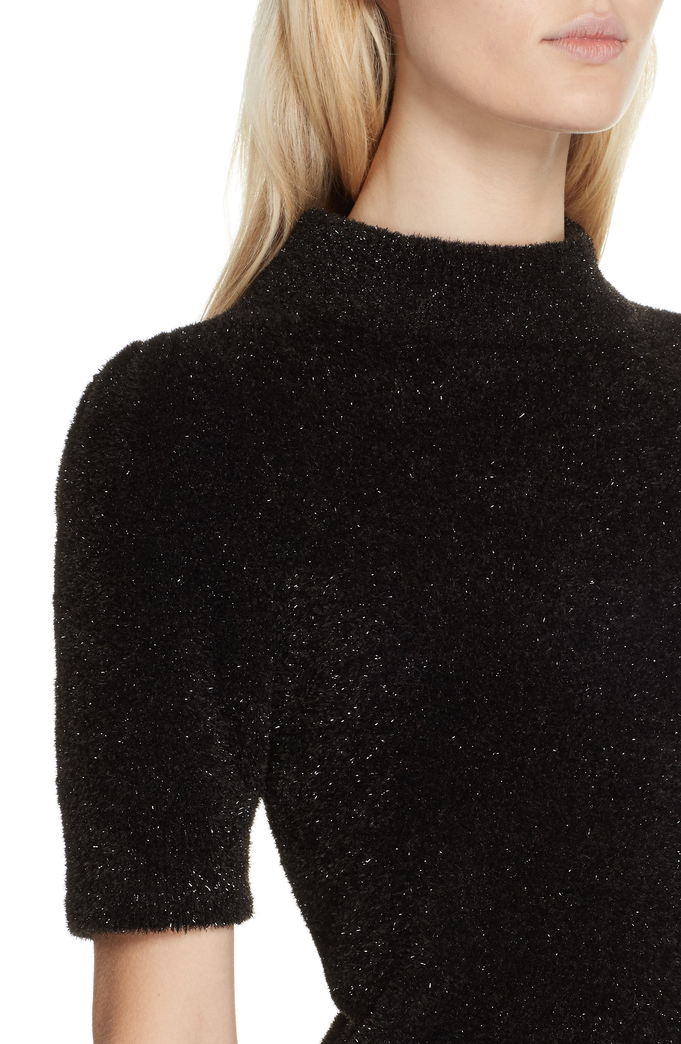 metallic fuzzy sweater,                             Alternate thumbnail 4, color,                             BLACK