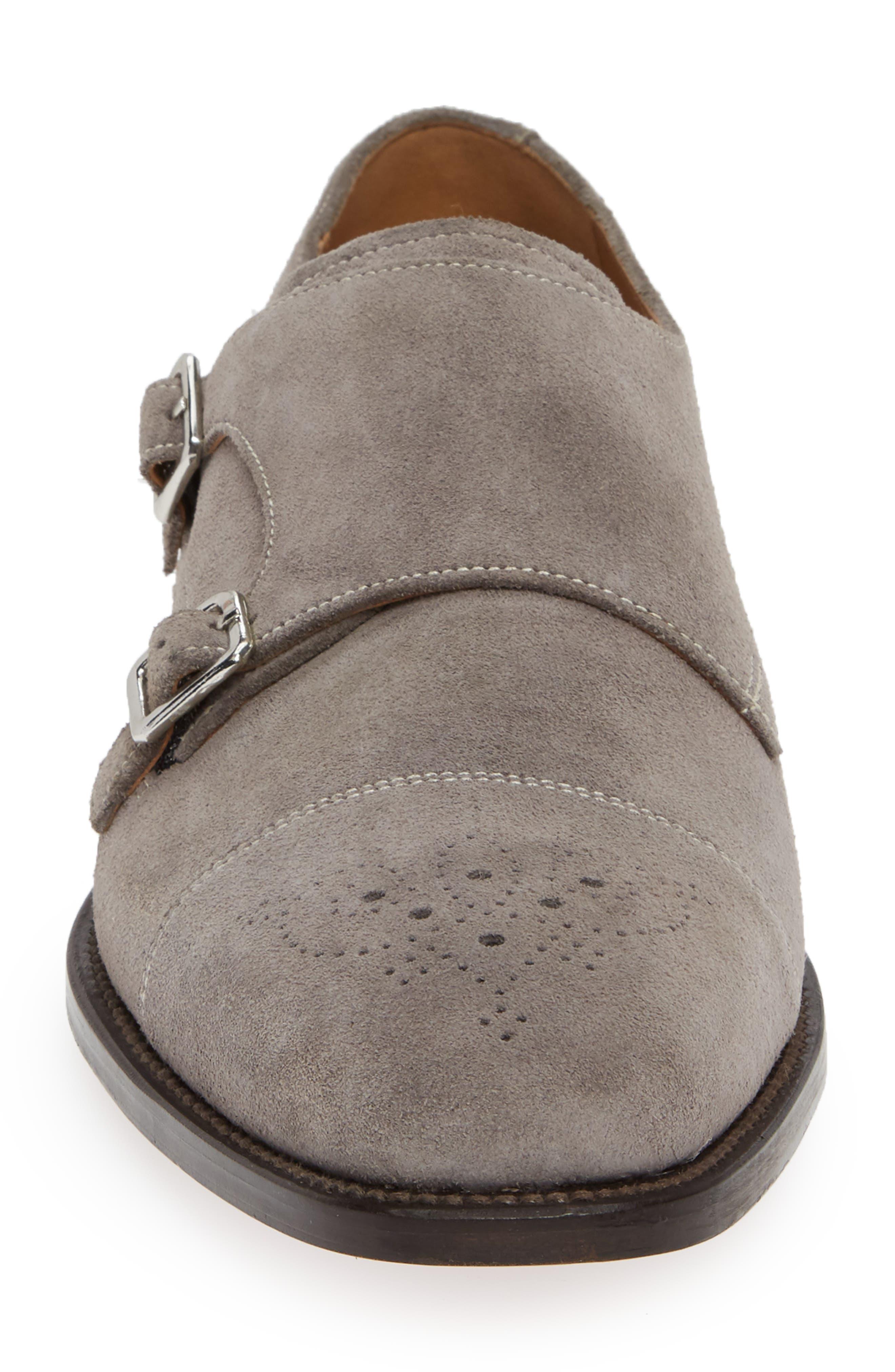Sausalito Double Monk Strap Shoe,                             Alternate thumbnail 4, color,                             GREY SUEDE