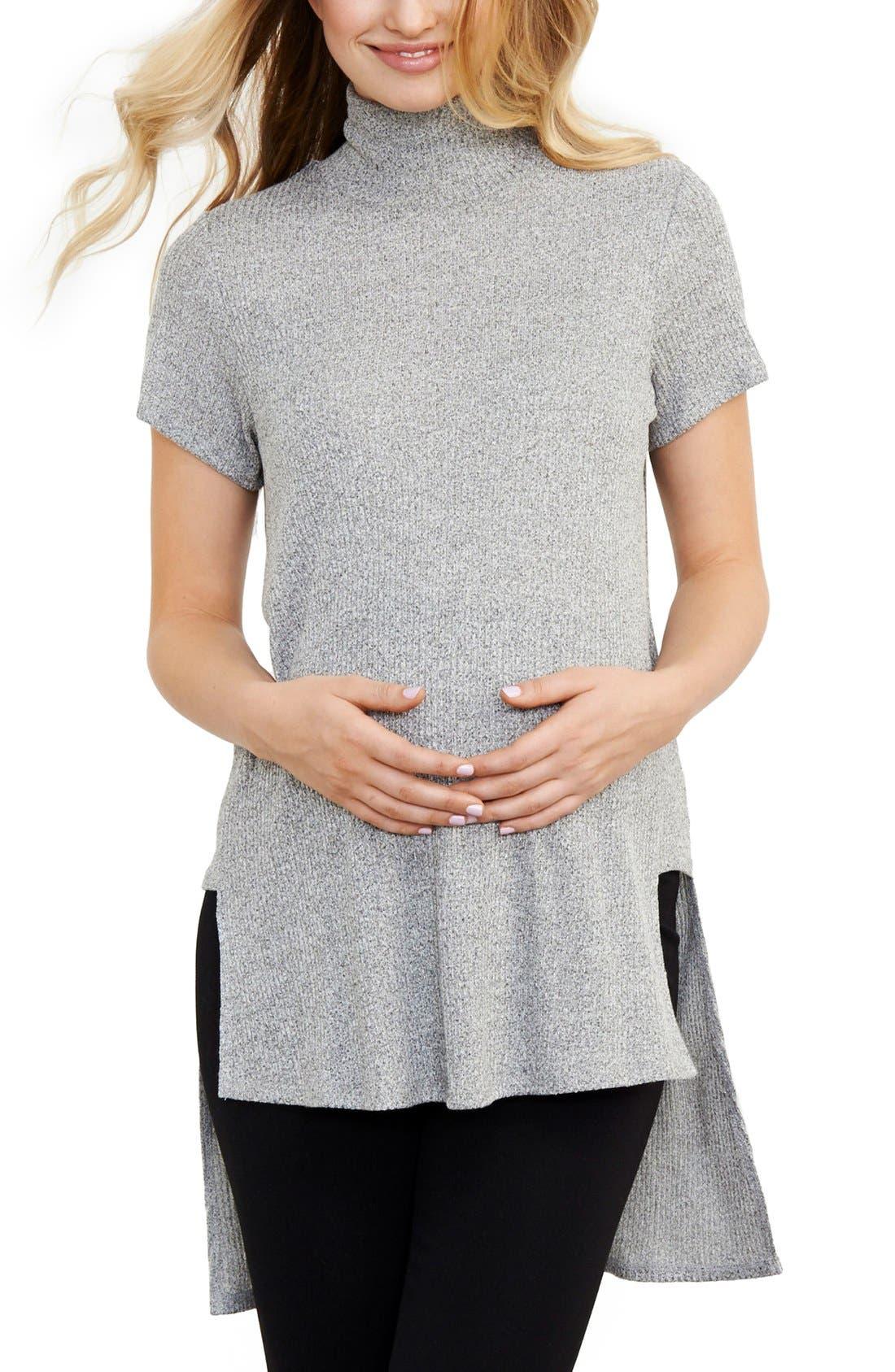 MATERNAL AMERICA Turtleneck High/Low Maternity Top, Main, color, 020