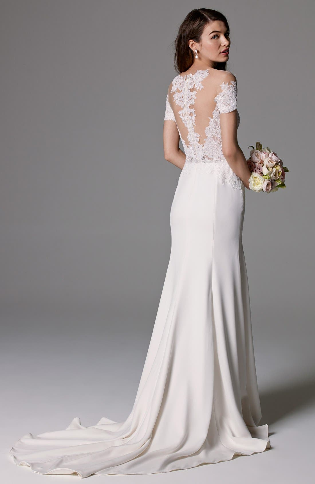 Seaton Illusion Off-the-Shoulder Lace & Georgette Trumpet Gown,                             Alternate thumbnail 4, color,                             IVORY/IVORY