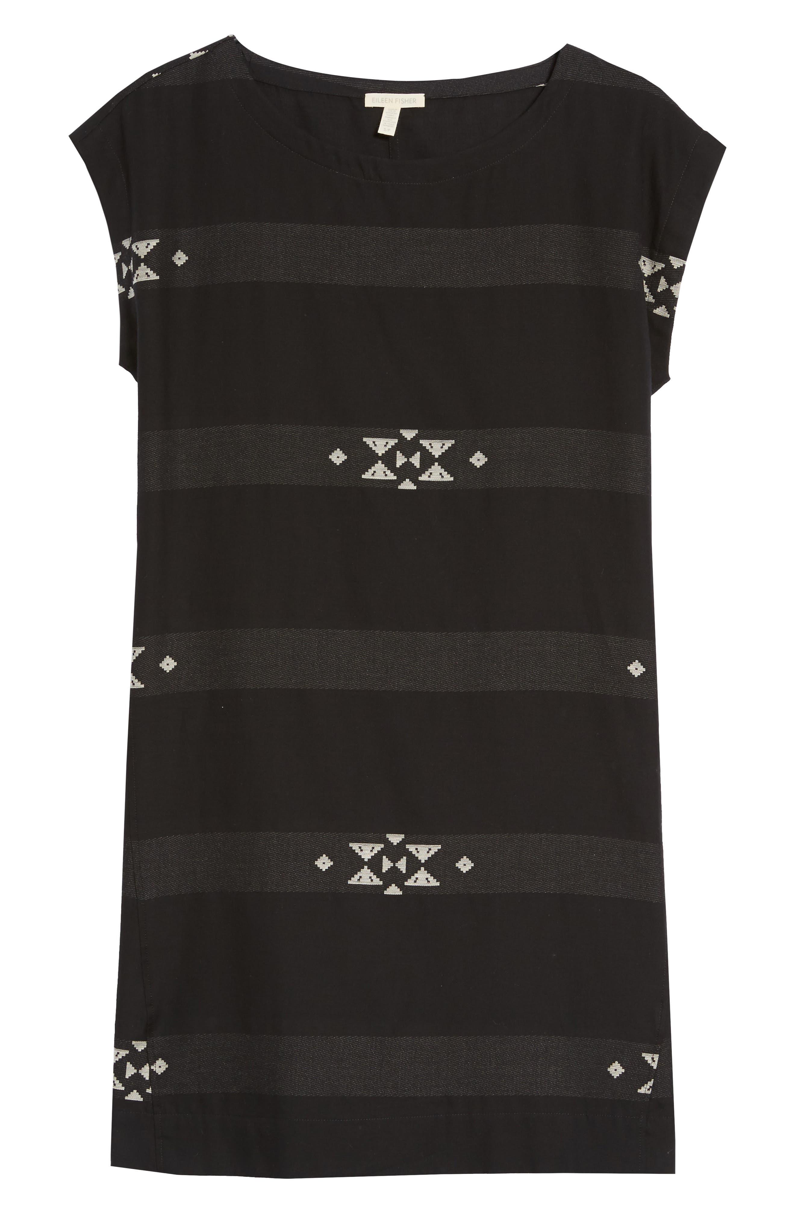 Cotton Jacquard Shirt Dress,                             Alternate thumbnail 7, color,                             001