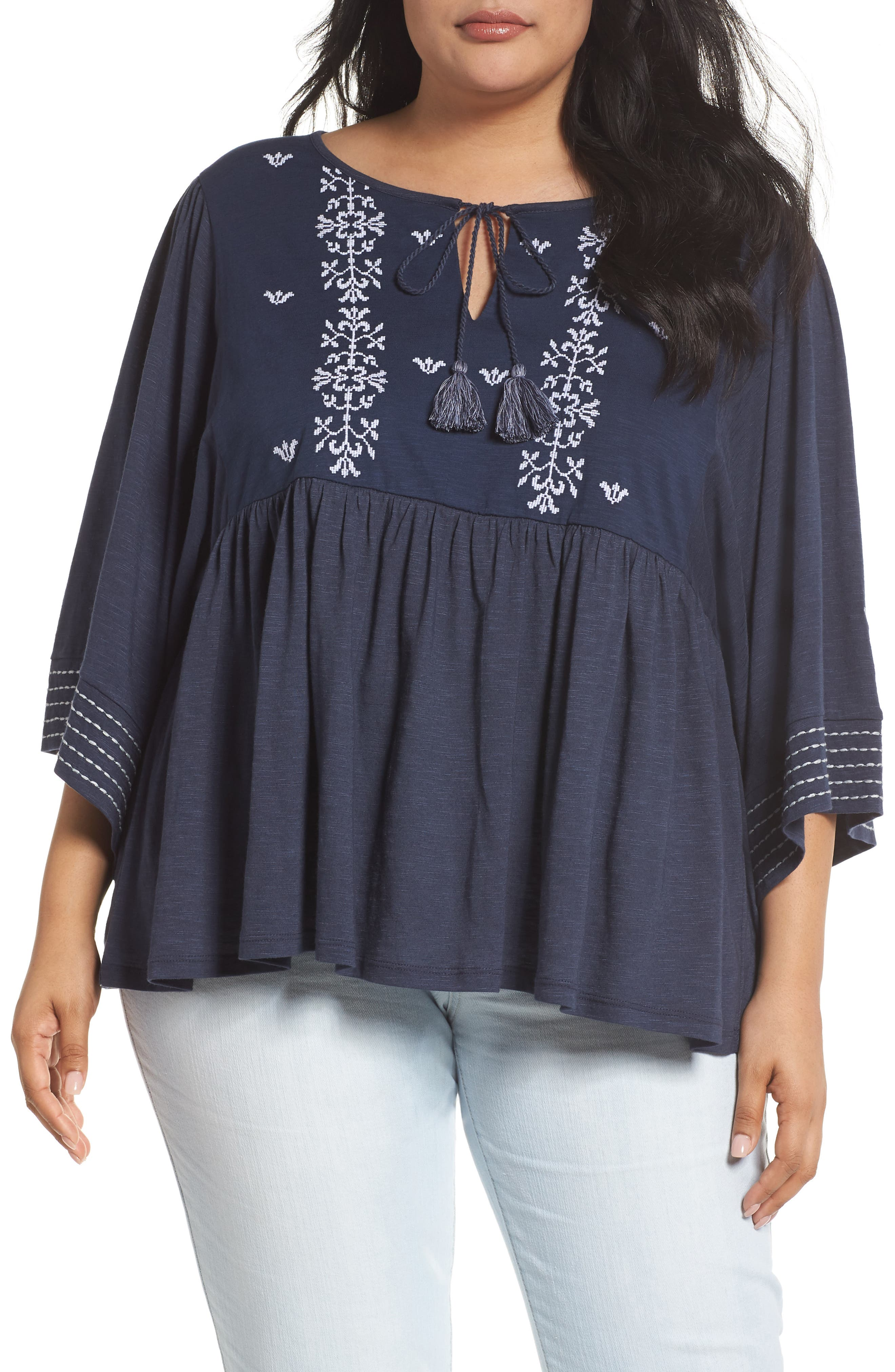 CASLON<SUP>®</SUP> Embroidered Peasant Top, Main, color, 410