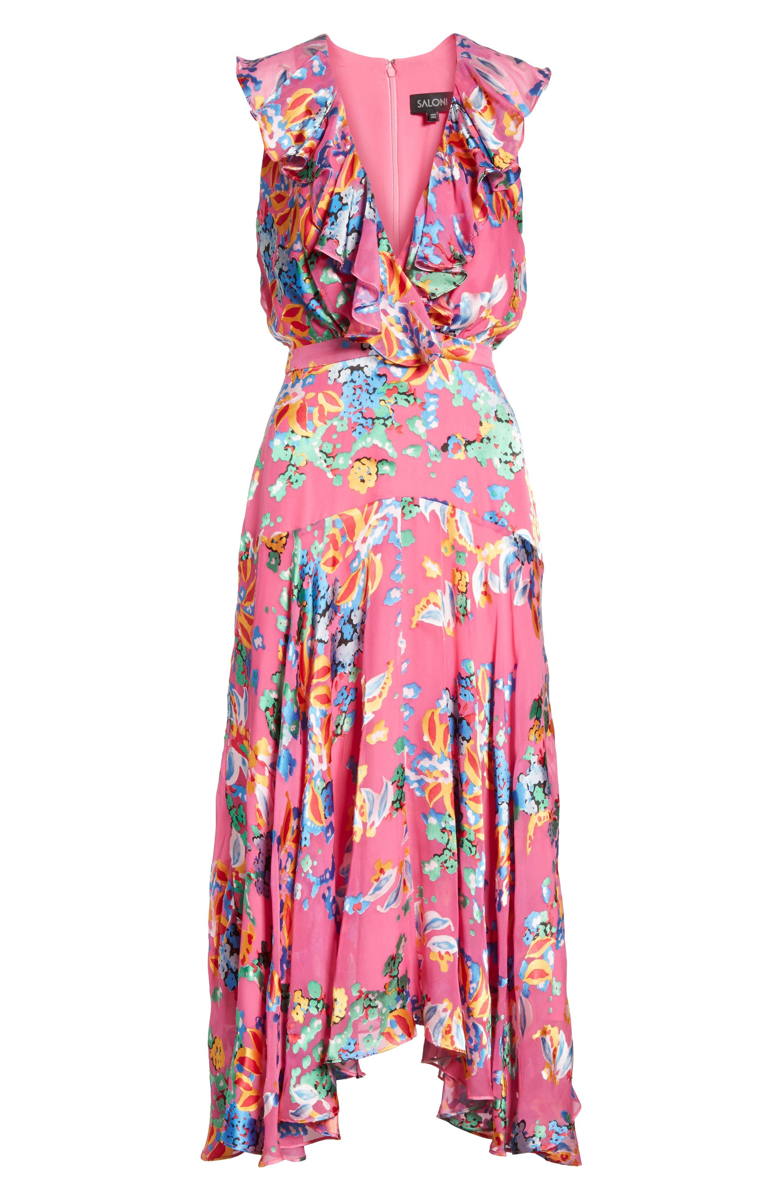 Rita Ruffle Dress,                             Alternate thumbnail 6, color,                             PINK BEGONIA
