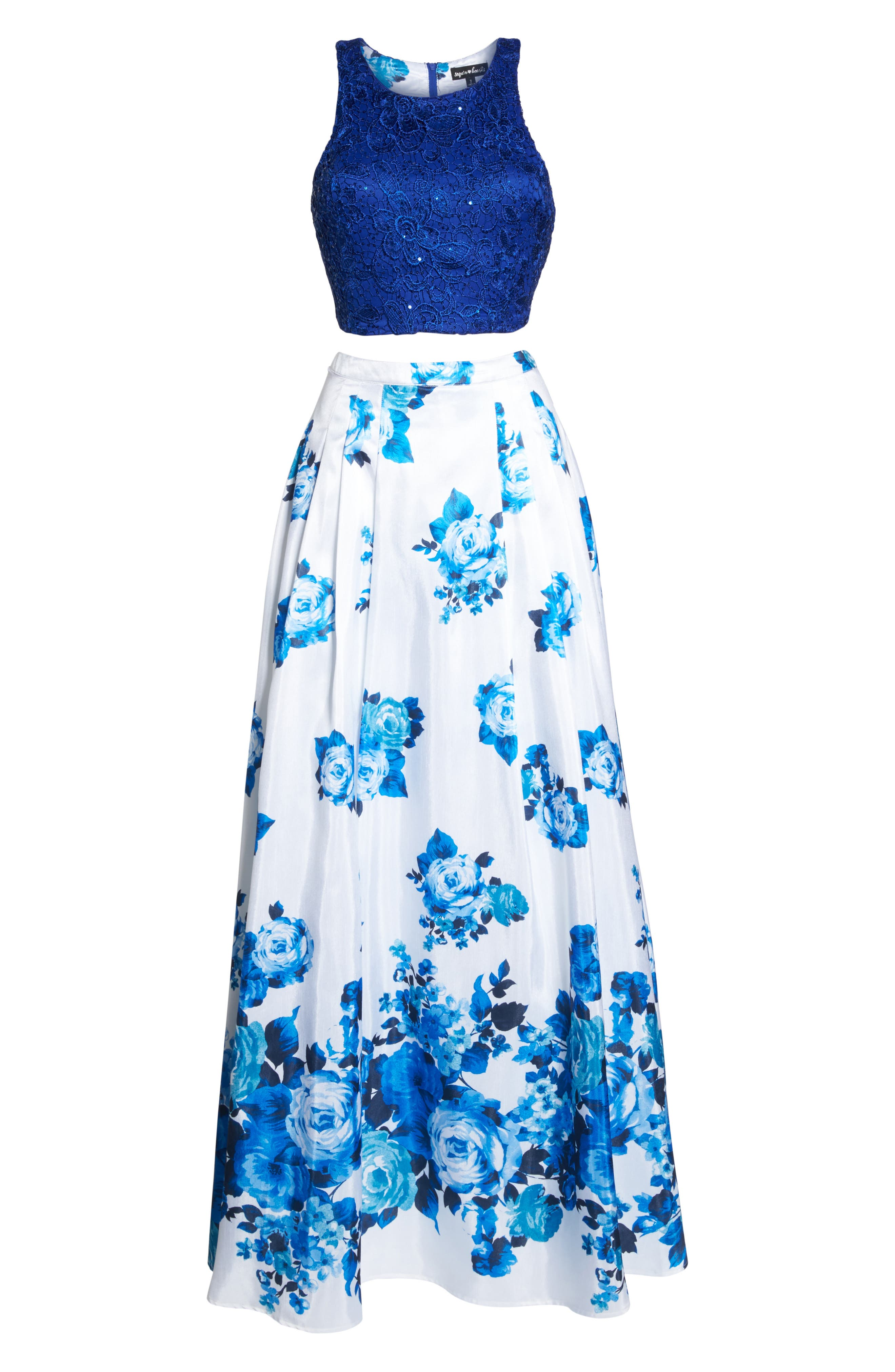 Floral Lace Two-Piece Gown,                             Alternate thumbnail 6, color,