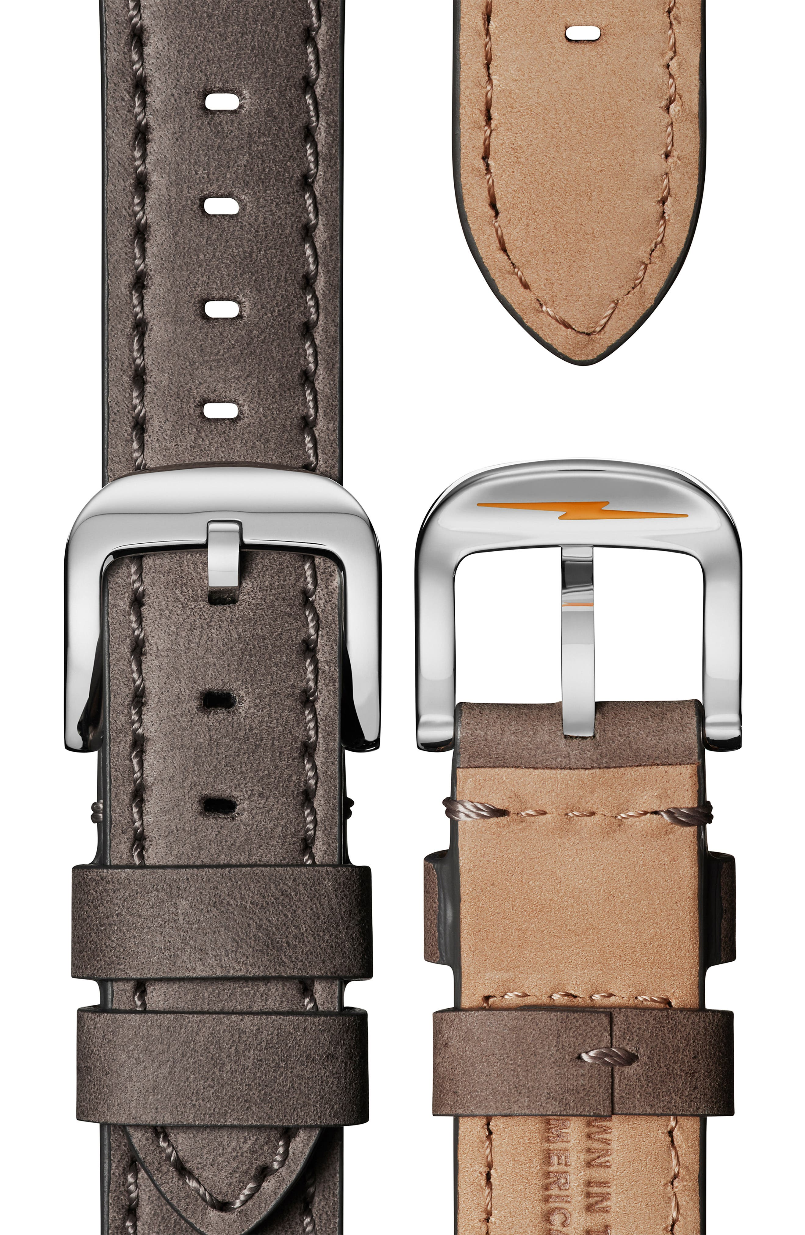 'The Runwell' Leather Strap Watch, 41mm,                             Alternate thumbnail 4, color,                             HEATHER GREY/ MOP/ SILVER