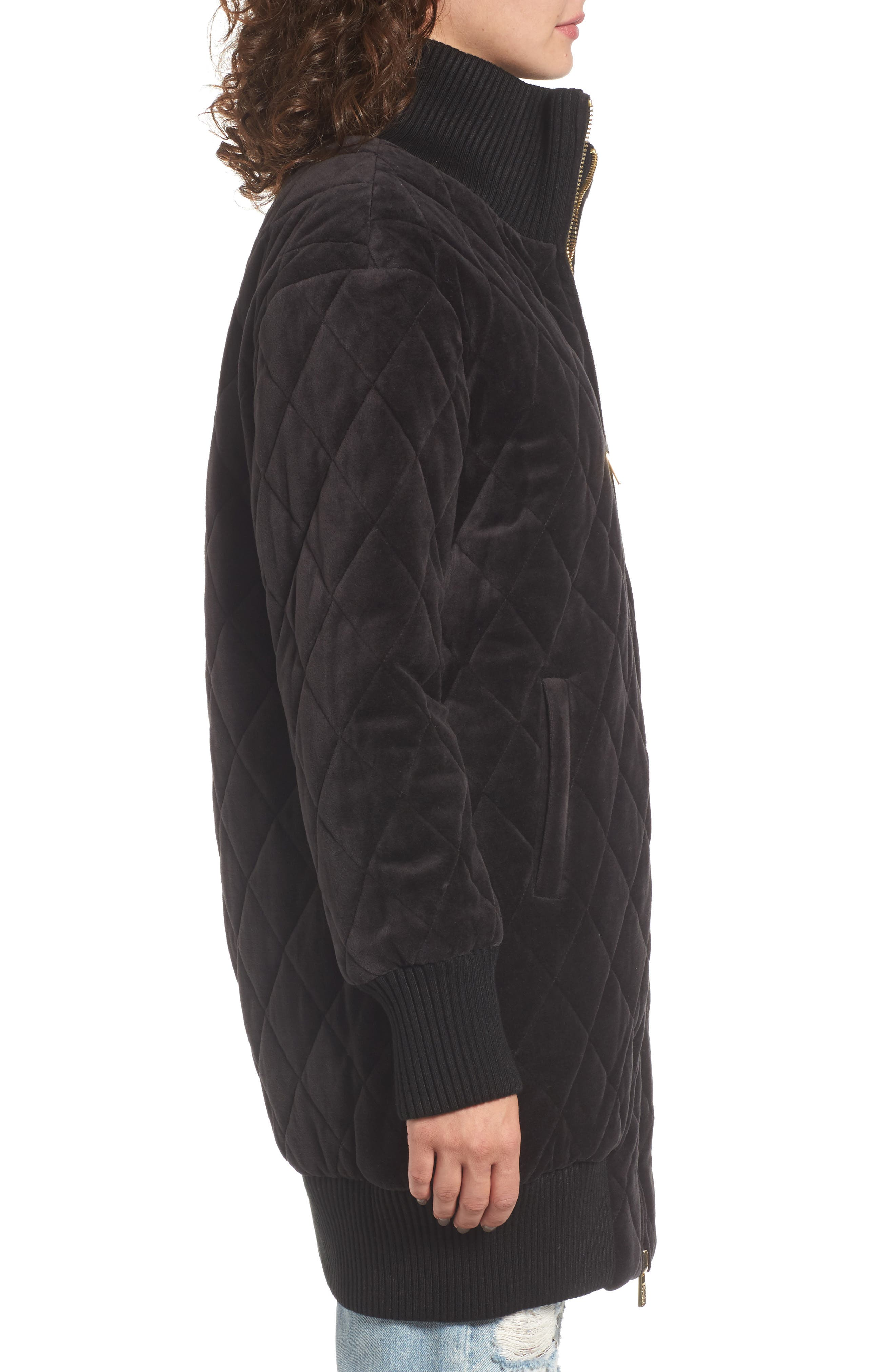 Velour Quilted Puffer Coat,                             Alternate thumbnail 3, color,
