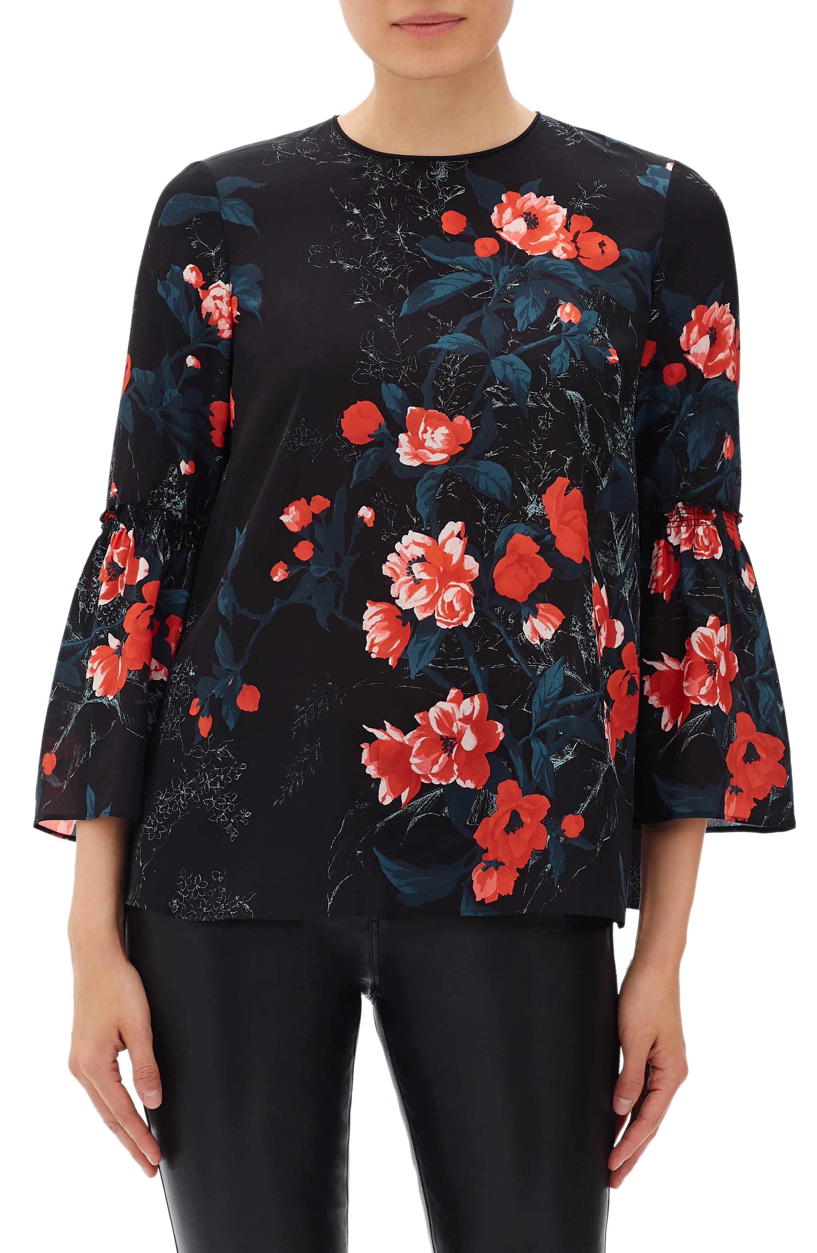 LAFAYETTE 148 Roslin Bell-Sleeve Top W/ Terrace Florets in Black Multi