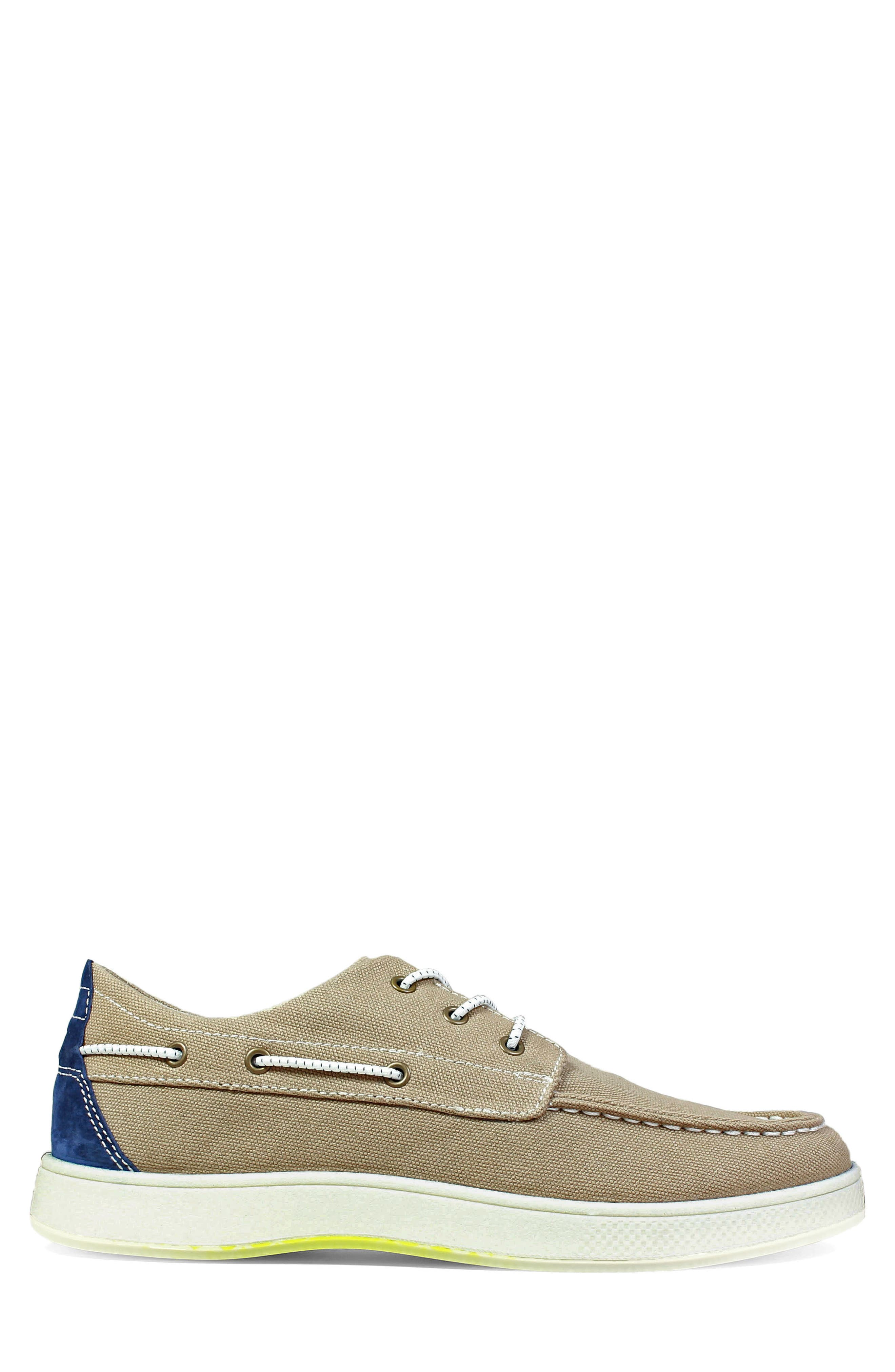 FLORSHEIM,                             Edge Boat Shoe,                             Alternate thumbnail 3, color,                             KHAKI CANVAS