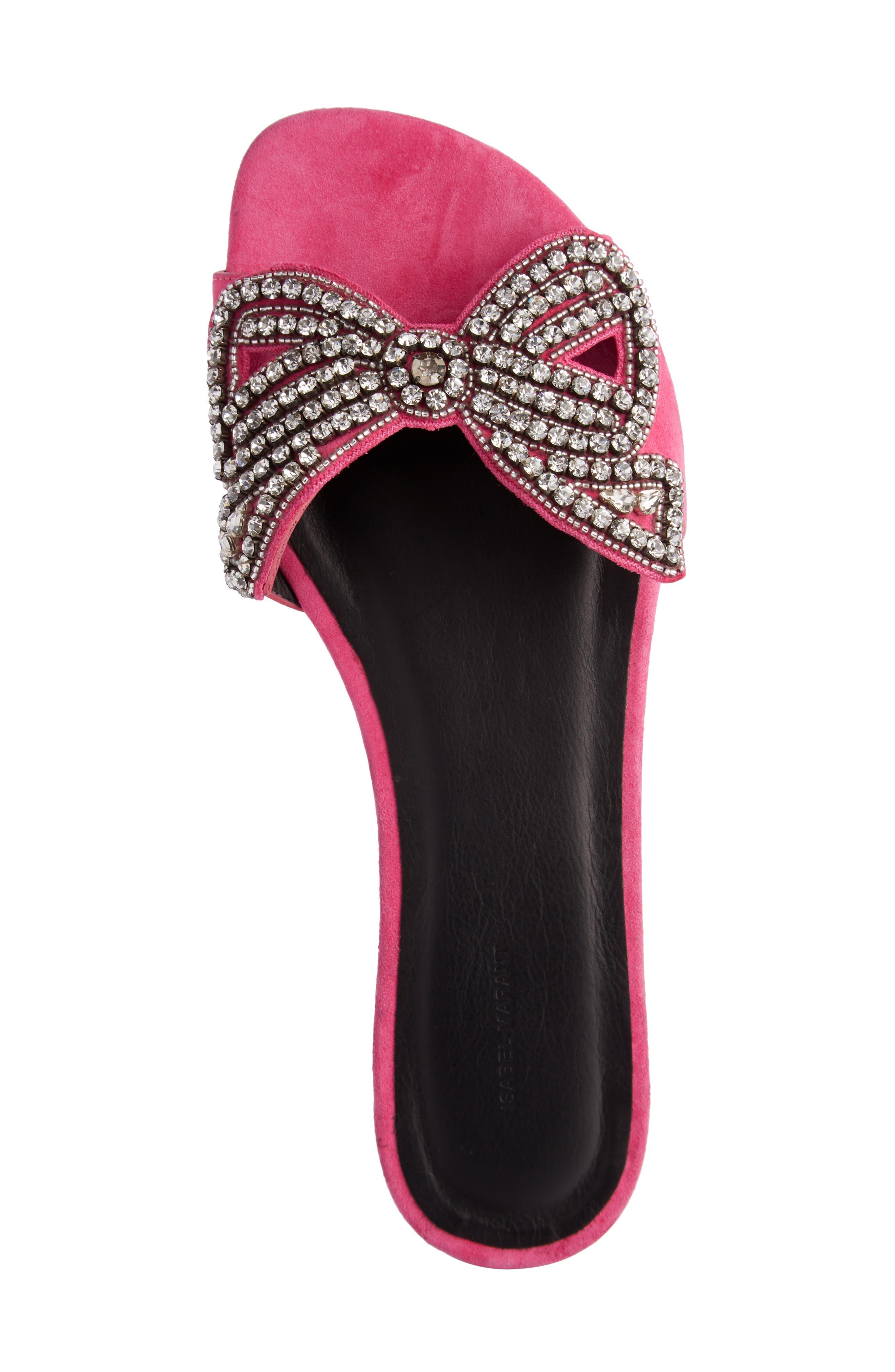 Jelson Crystal Bow Slide Sandal,                             Alternate thumbnail 4, color,                             650