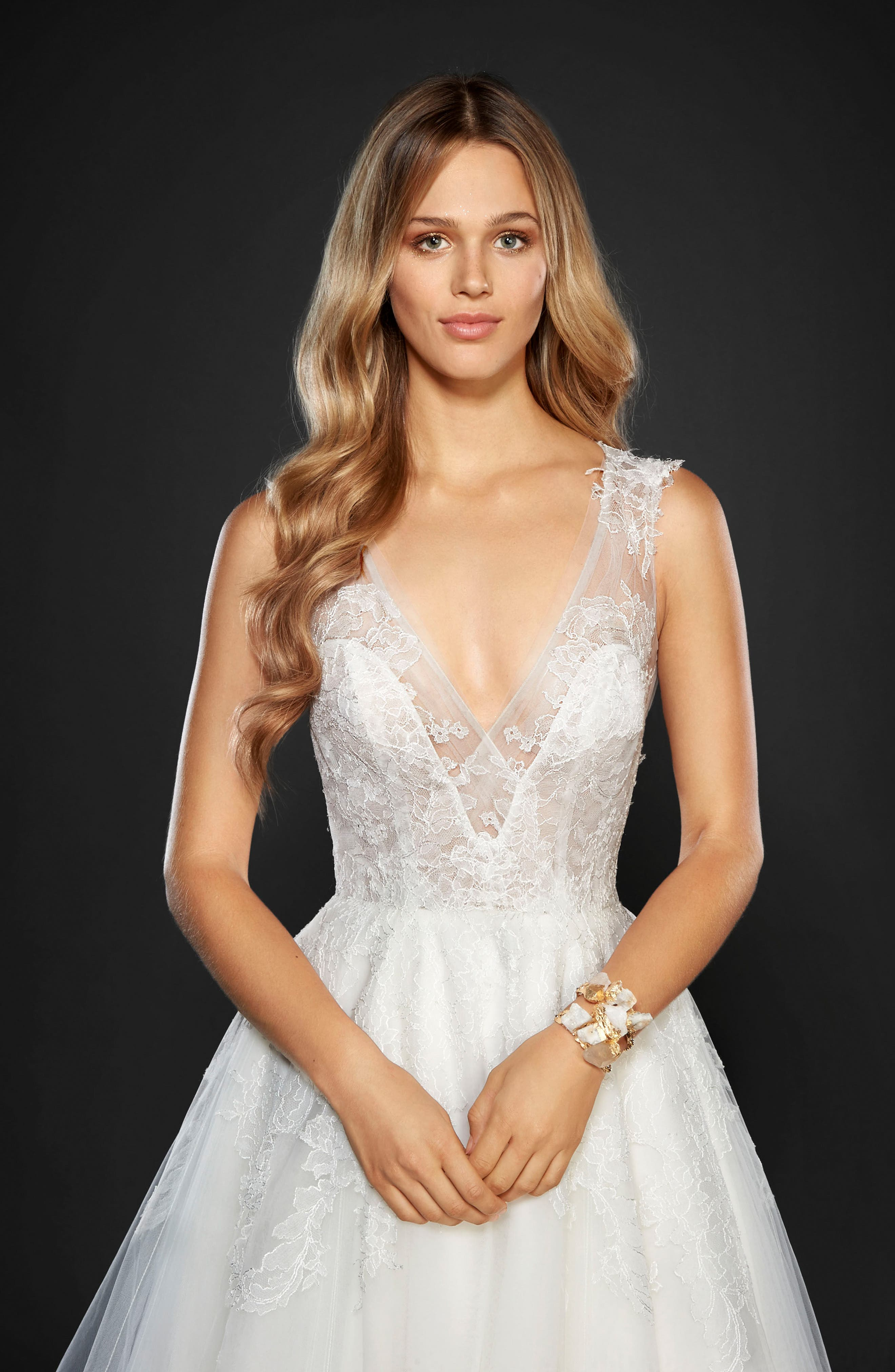 Winnie Lace & Tulle Ballgown,                             Alternate thumbnail 3, color,                             IVORY