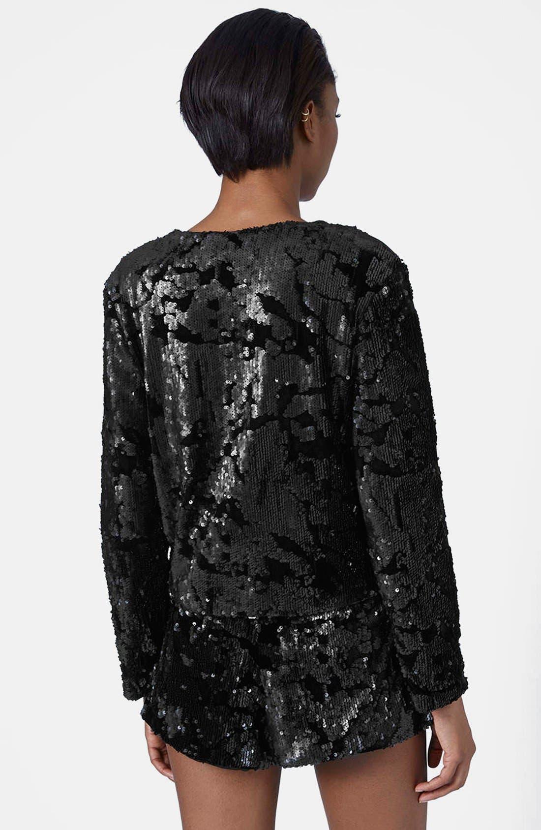 Velvet Sequin Jacket,                             Alternate thumbnail 2, color,                             001