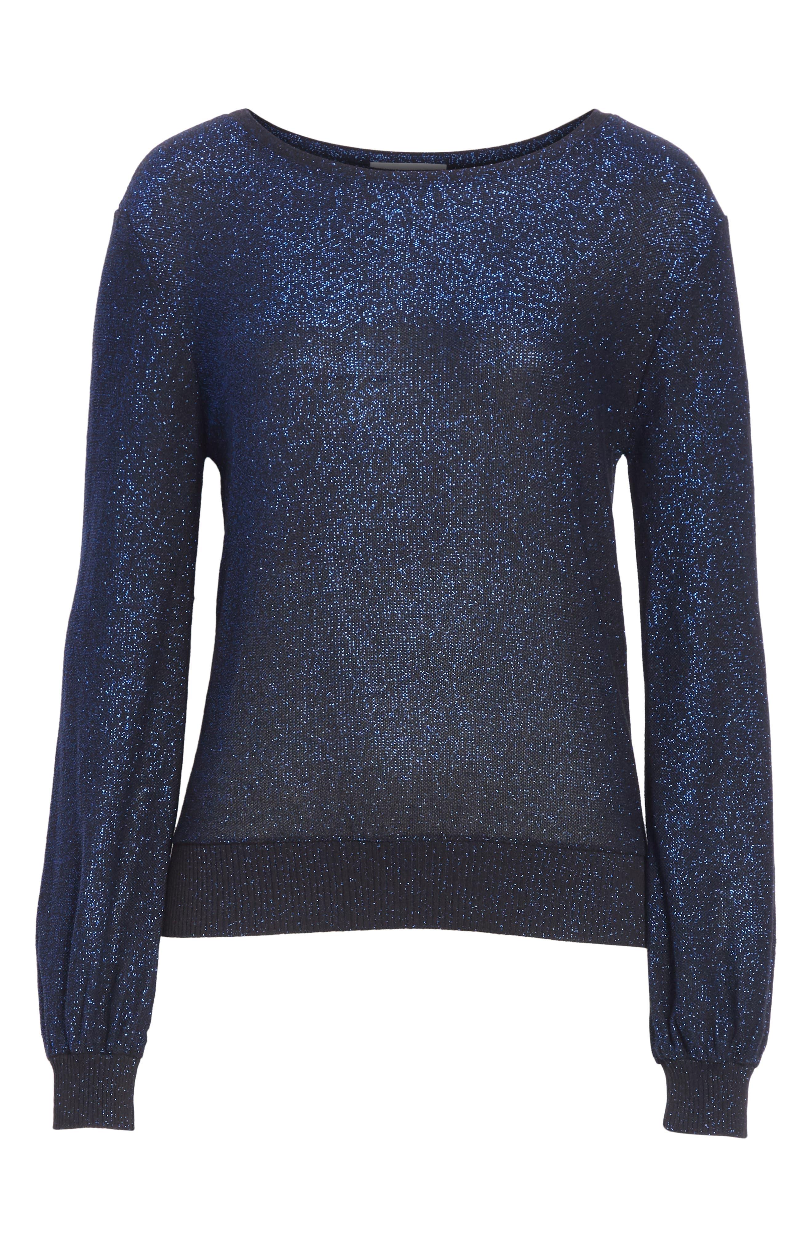Metallic Shimmer Cotton Blend Sweater,                             Alternate thumbnail 6, color,                             COBALT