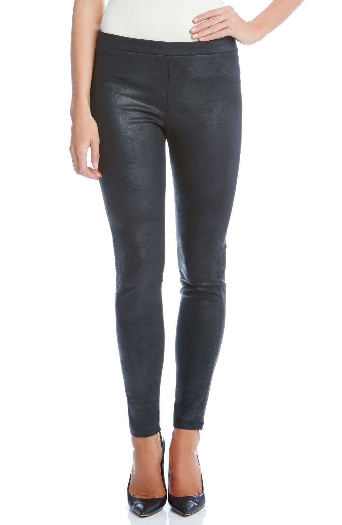 Stretch Faux Leather Skinny Pants,                         Main,                         color, 001
