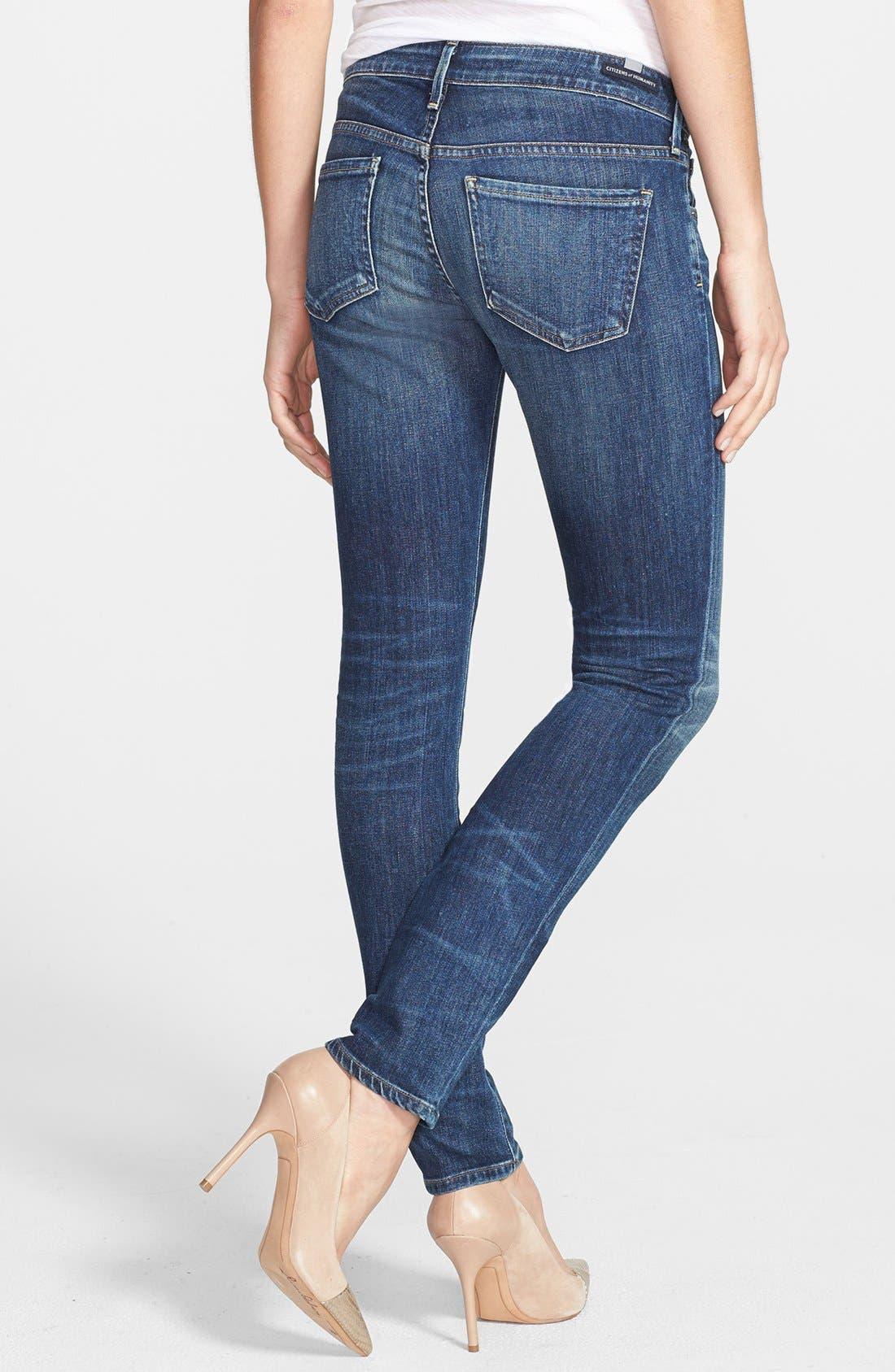 'Racer' Whiskered Skinny Jeans,                             Alternate thumbnail 4, color,                             PATINA
