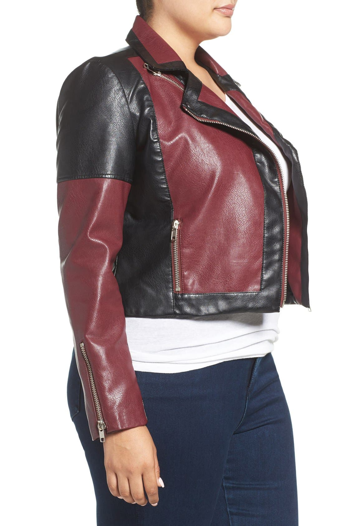 'Justine' Colorbock Faux Leather Jacket,                             Alternate thumbnail 3, color,                             602