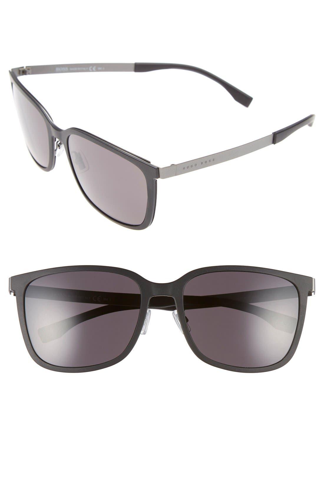 BOSS 56mm Retro Sunglasses, Main, color, 001