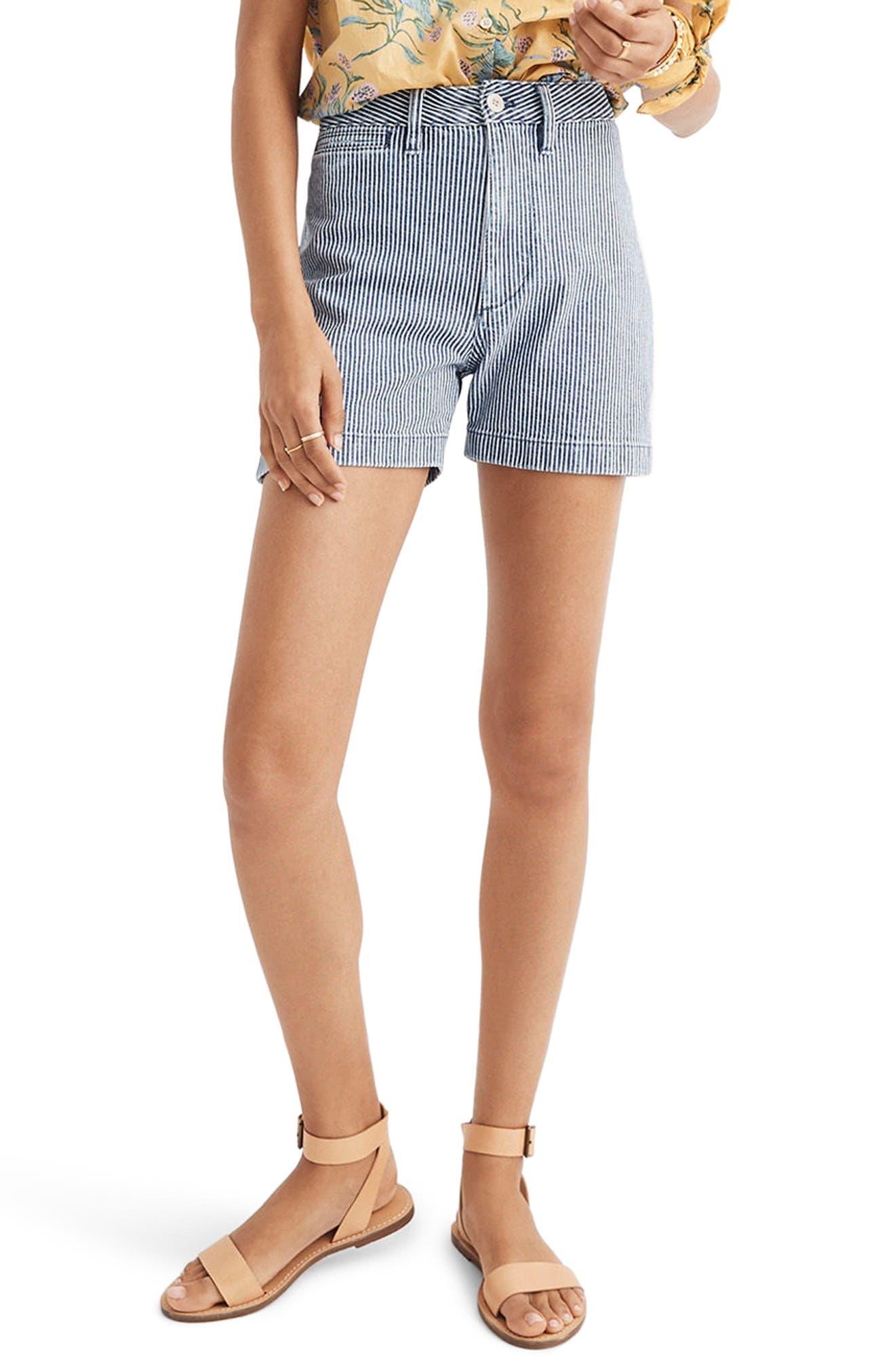 Emmett Stripe Denim Shorts, Main, color, 400