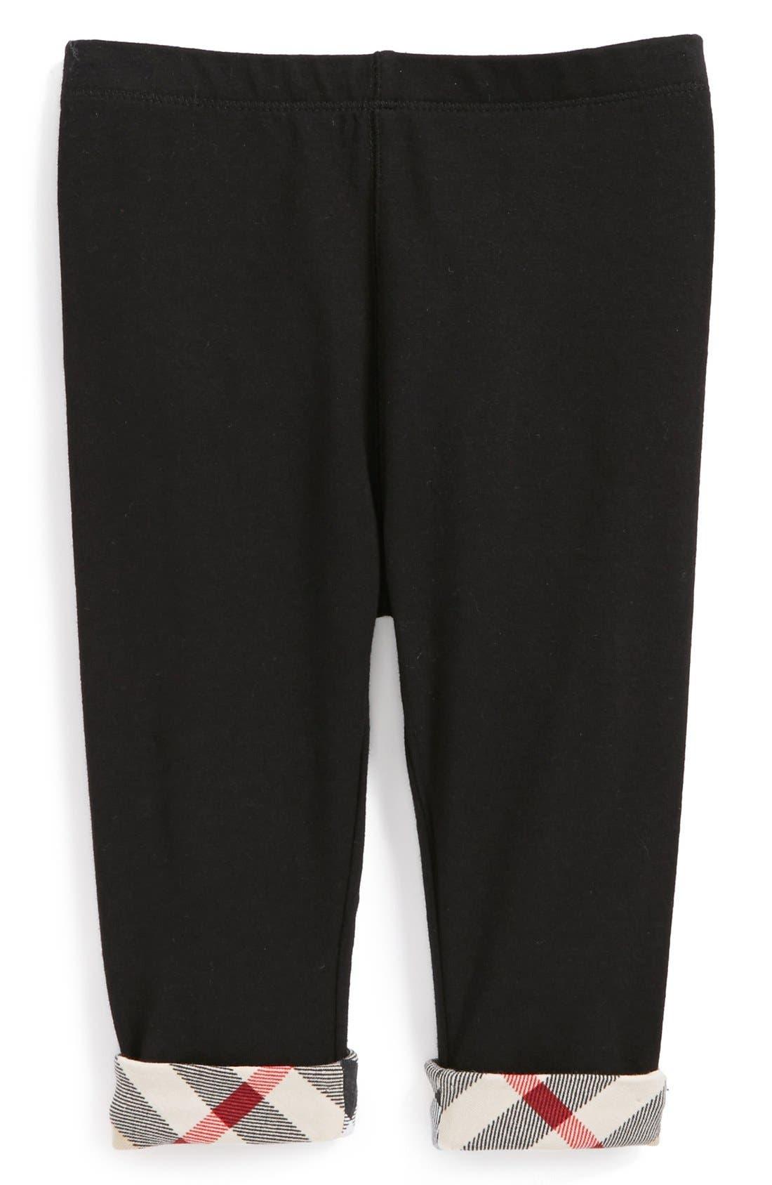 Check Cuff Pants,                         Main,                         color, BLACK