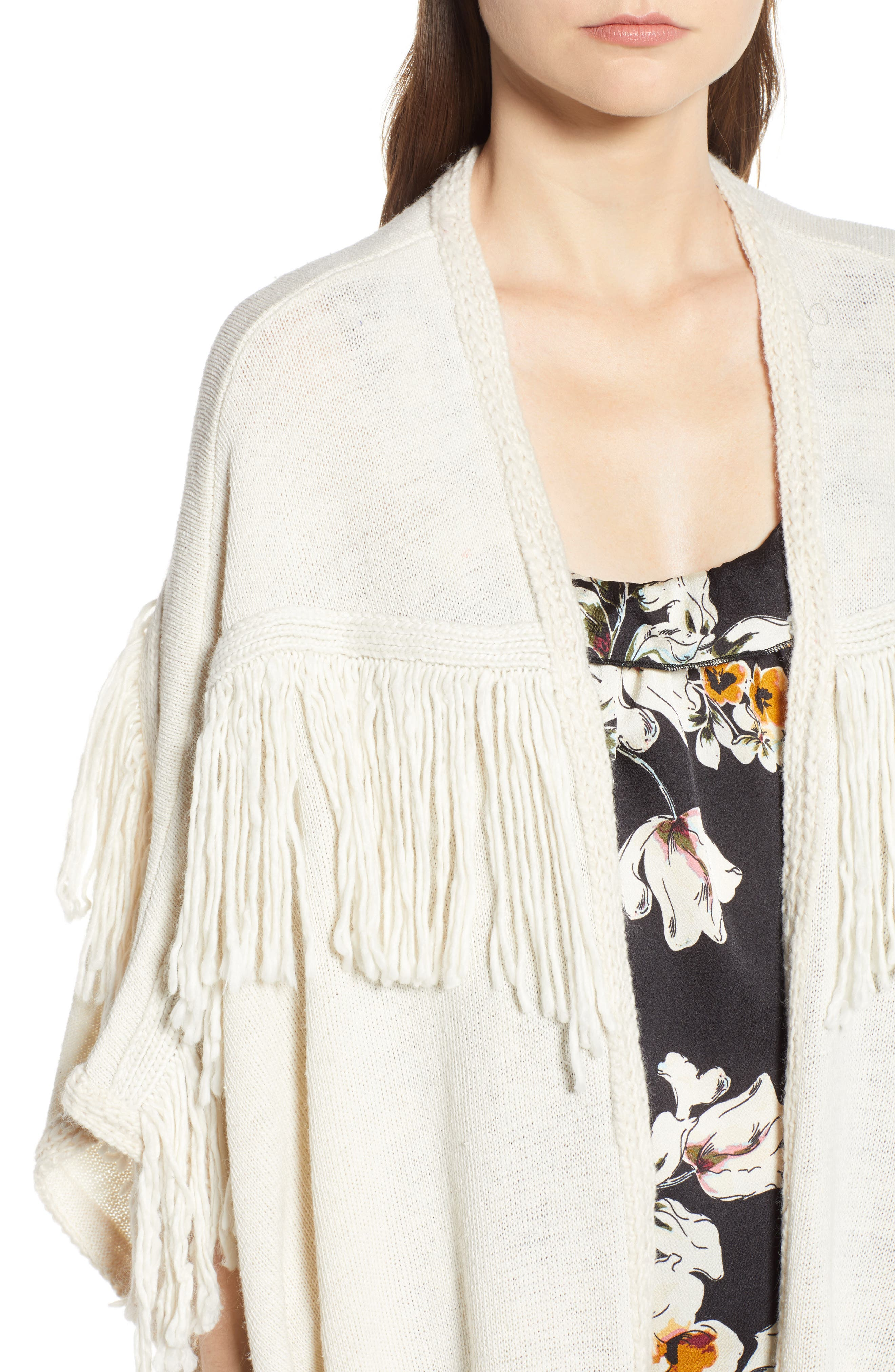 Bishop + Young Fringe Open Front Cardigan,                             Alternate thumbnail 4, color,                             IVORY