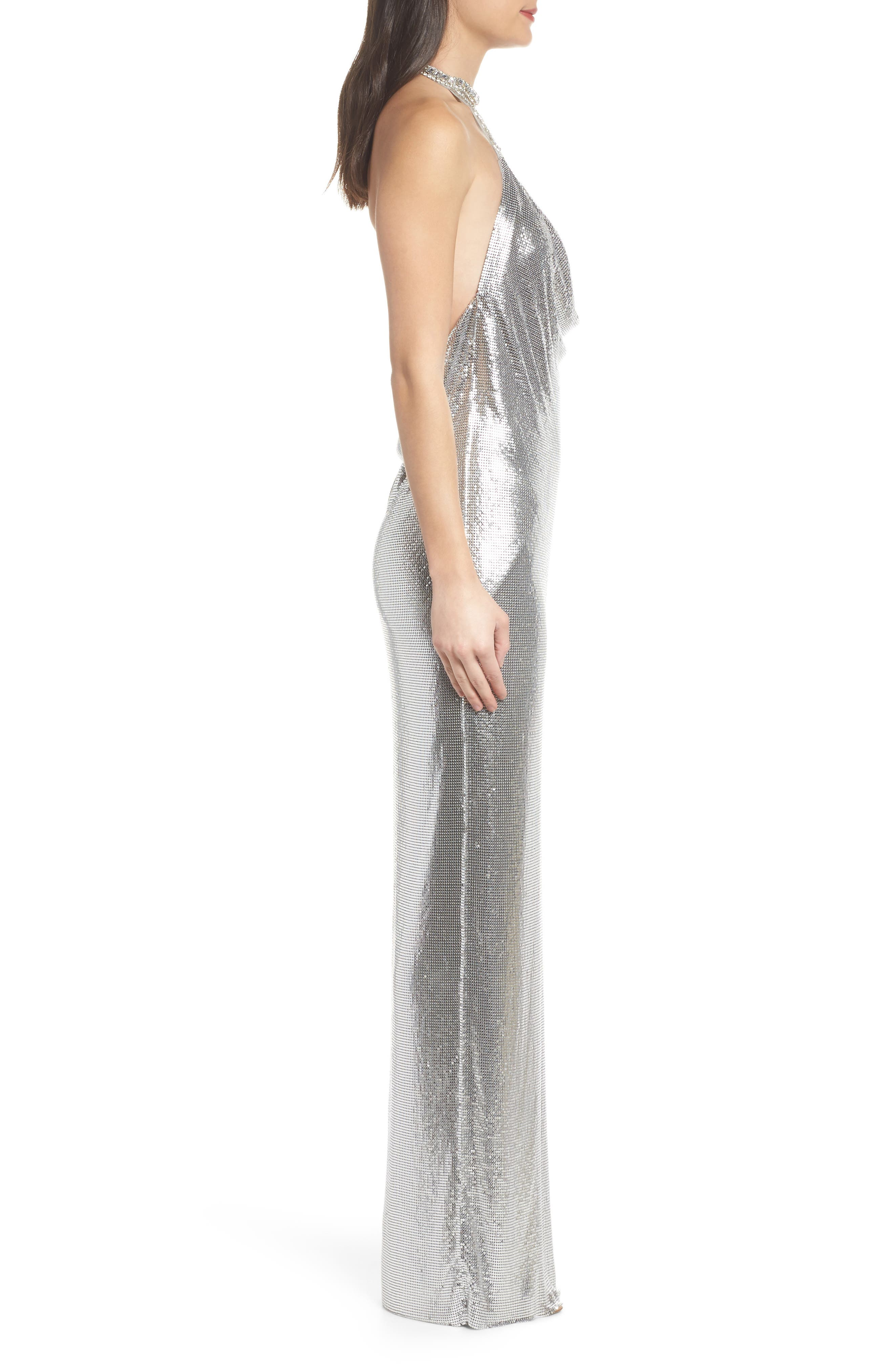 Jeweled Choker Column Gown,                             Alternate thumbnail 3, color,                             044