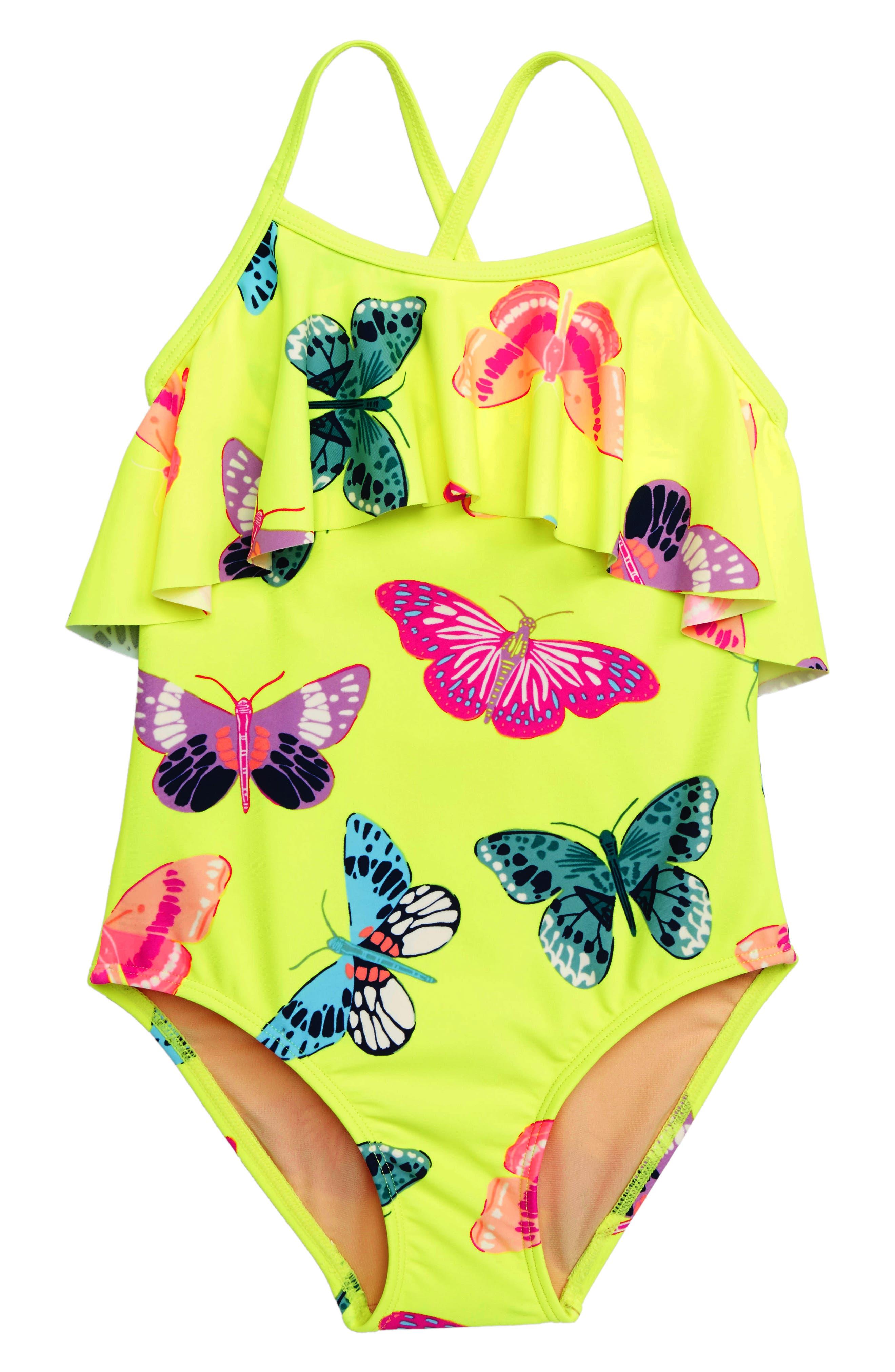 Ruffle One-Piece Swimsuit, Main, color, GOSSAMER GLOW