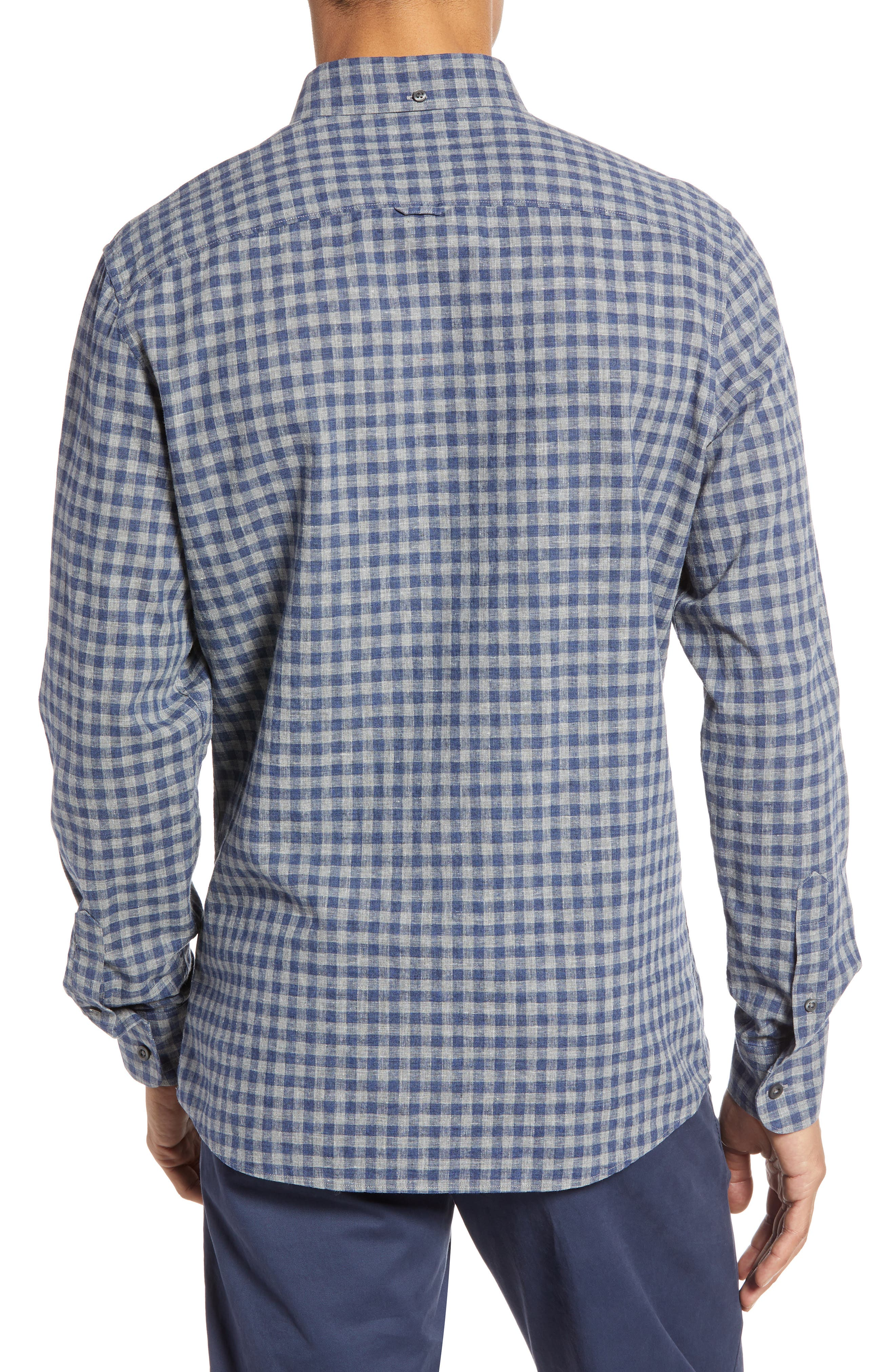 1901,                             Button Down Heather Gingham Linen Blend Sport Shirt,                             Alternate thumbnail 3, color,                             GREY OIL NAVY GINGHAM